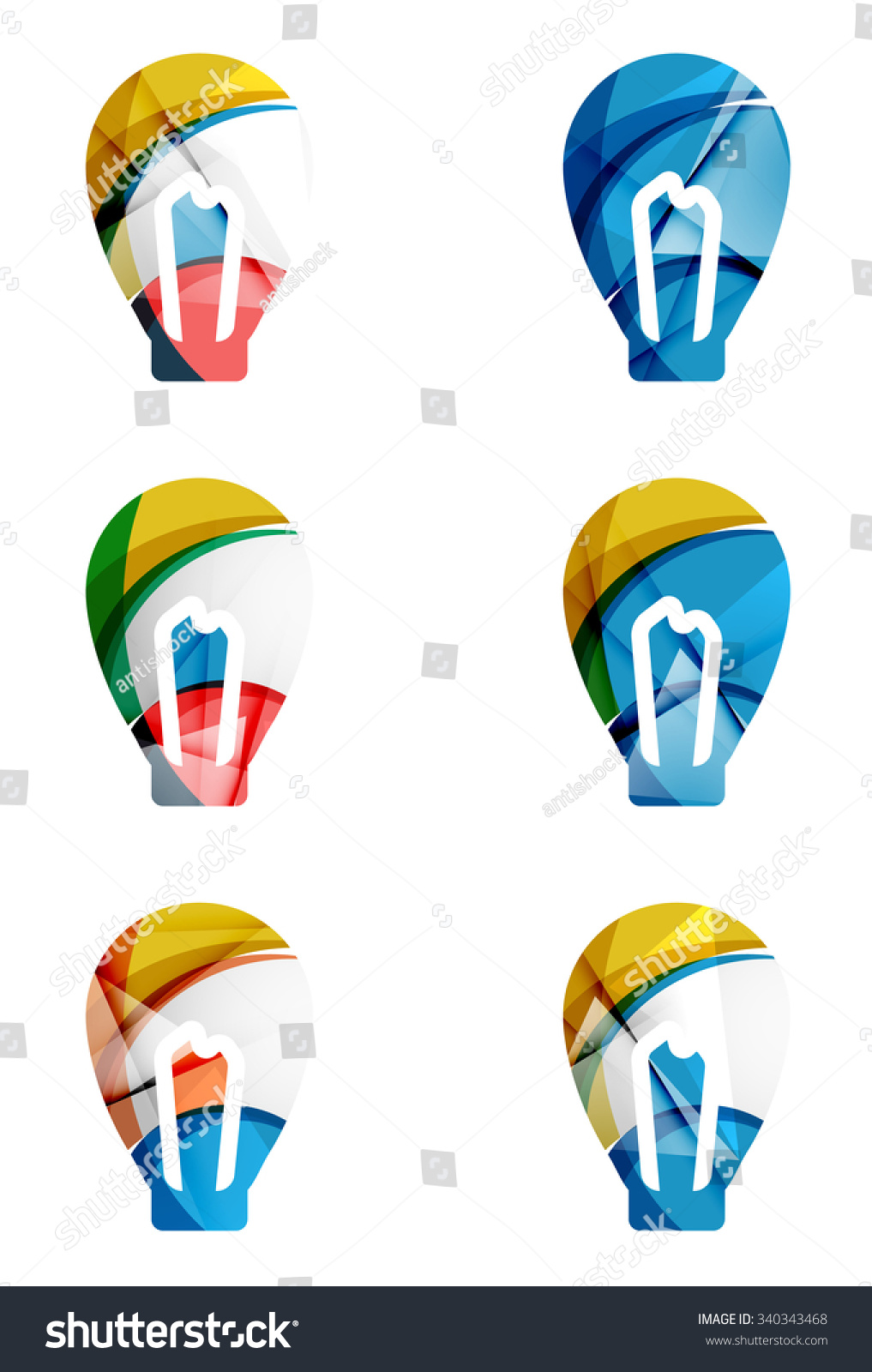 Set abstract light bulb icons business stock vector for Modern cleaning concept