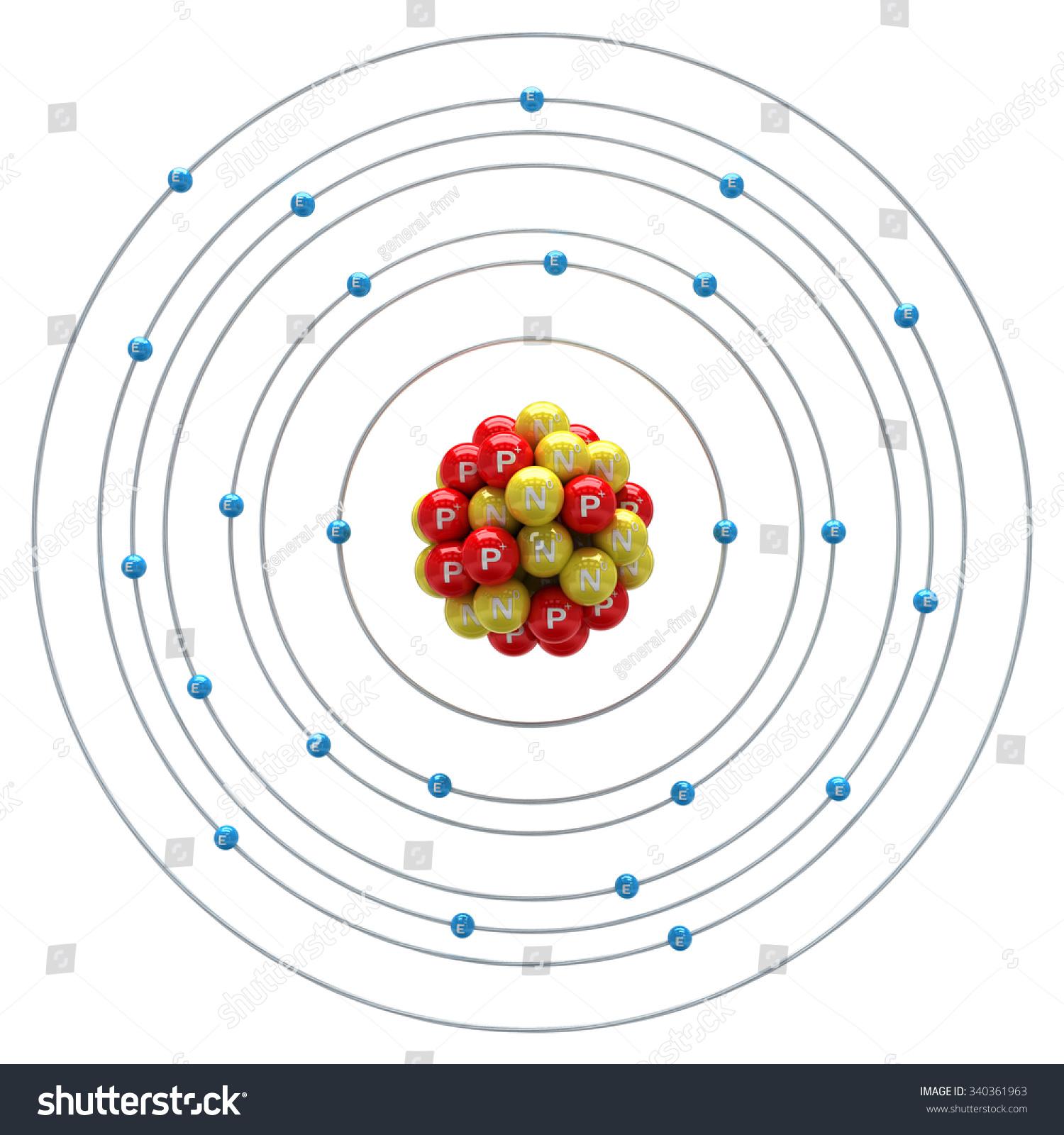 Chromium Atom On A White Background Stock Photo 340361963