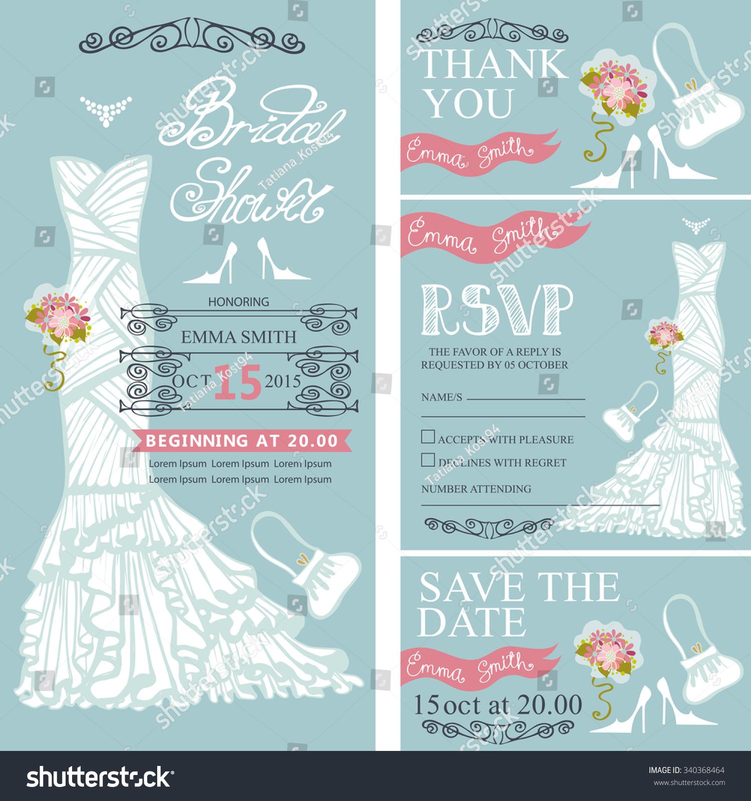 Bridal Shower Invitation Set Bride Wedding Dressbouquet Stock Vector ...
