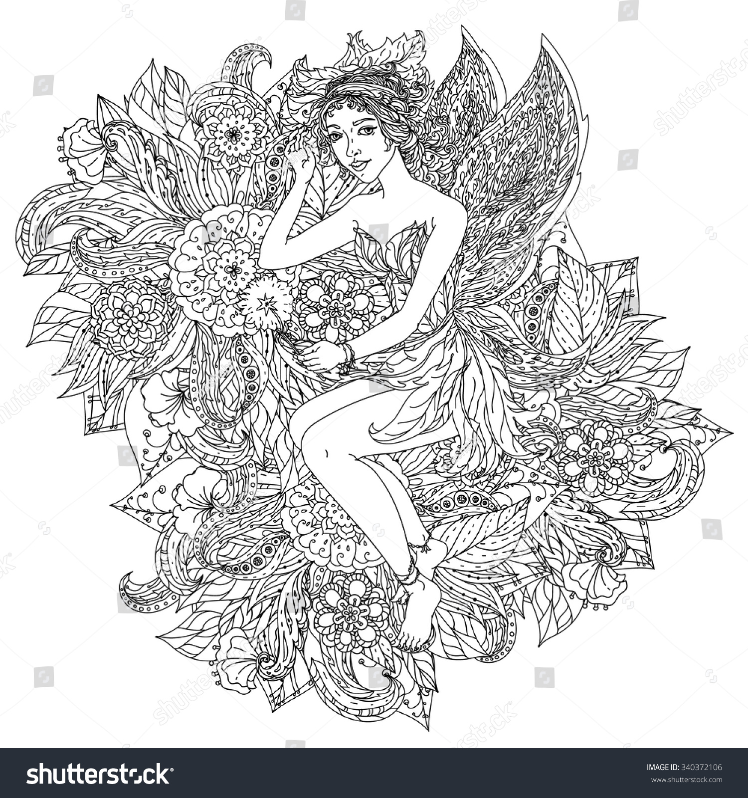 Beautiful Fashion Woman Flowers Image Fairy Stock Vector 340372106 ...