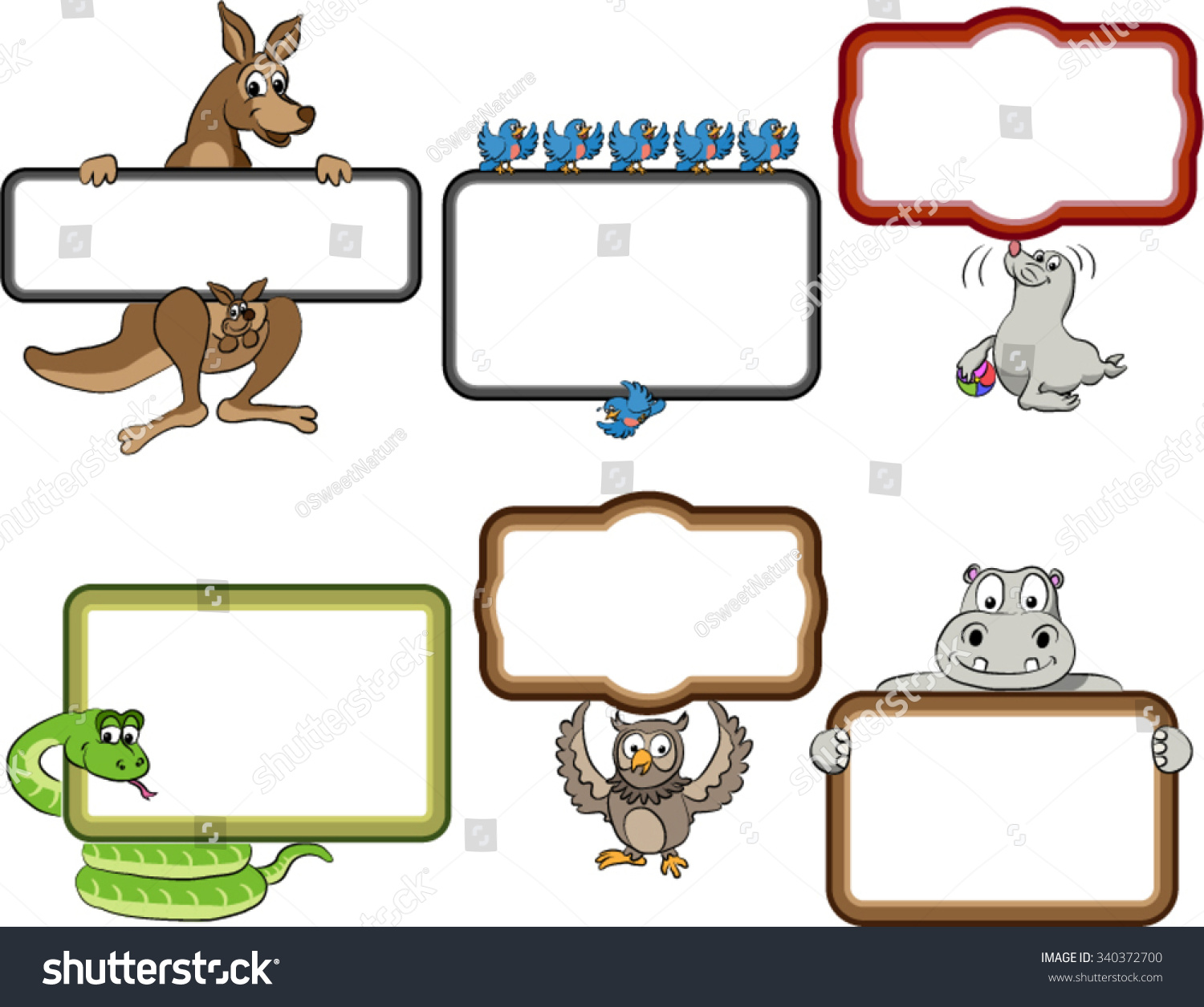 frames with cartoon animals blank frames with cartoon animals holding up the frames snake