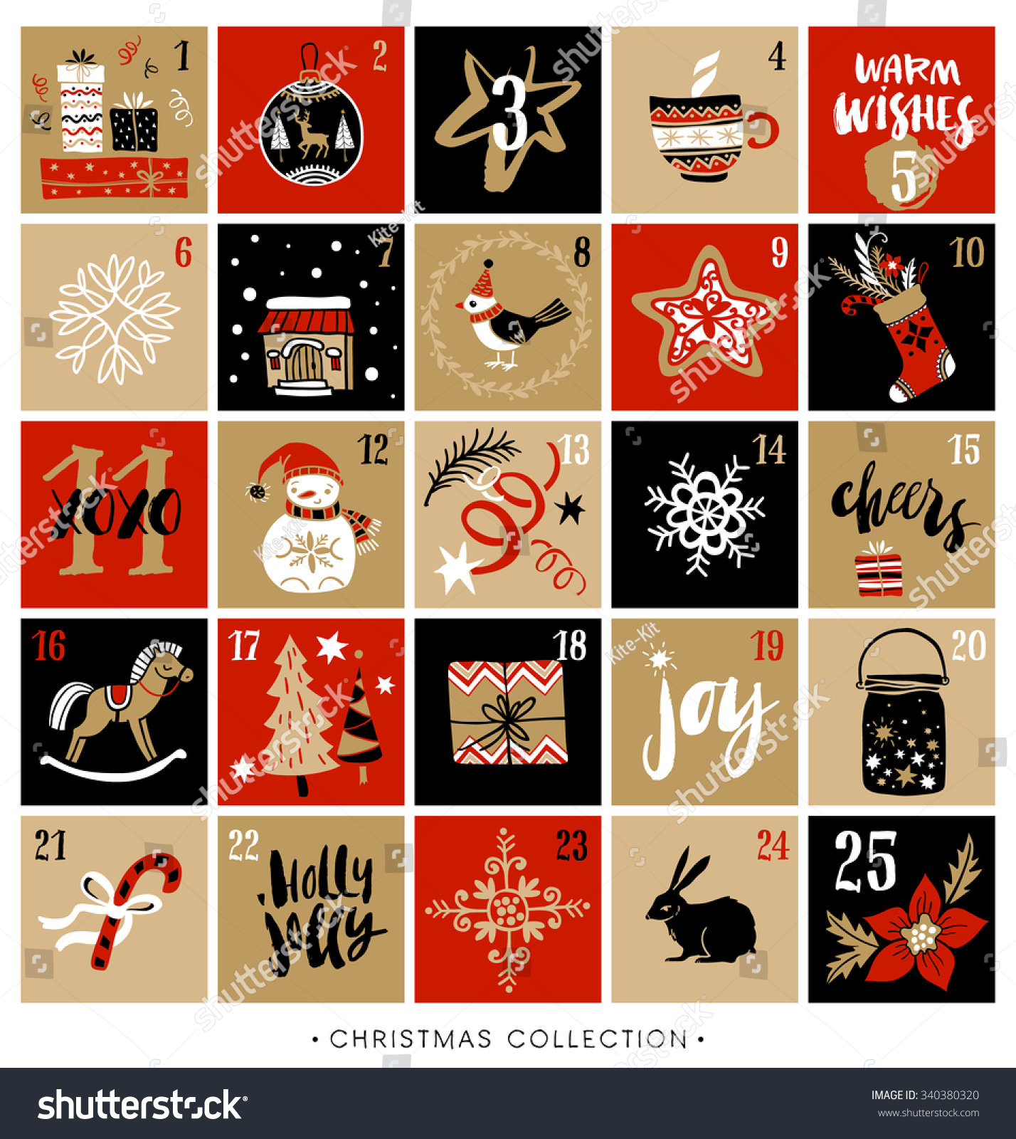 Christmas Advent Calendar Hand Drawn Design Stock Vector 340380320 ...