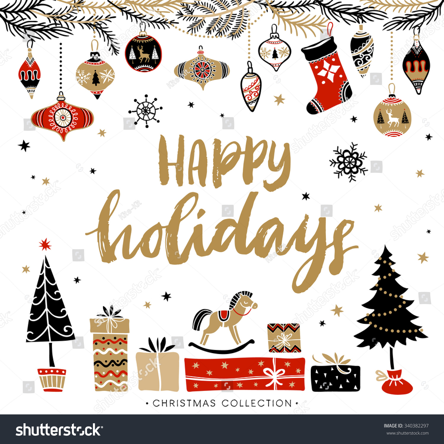 Happy Holidays Christmas Greeting Card Calligraphy Stock Vector