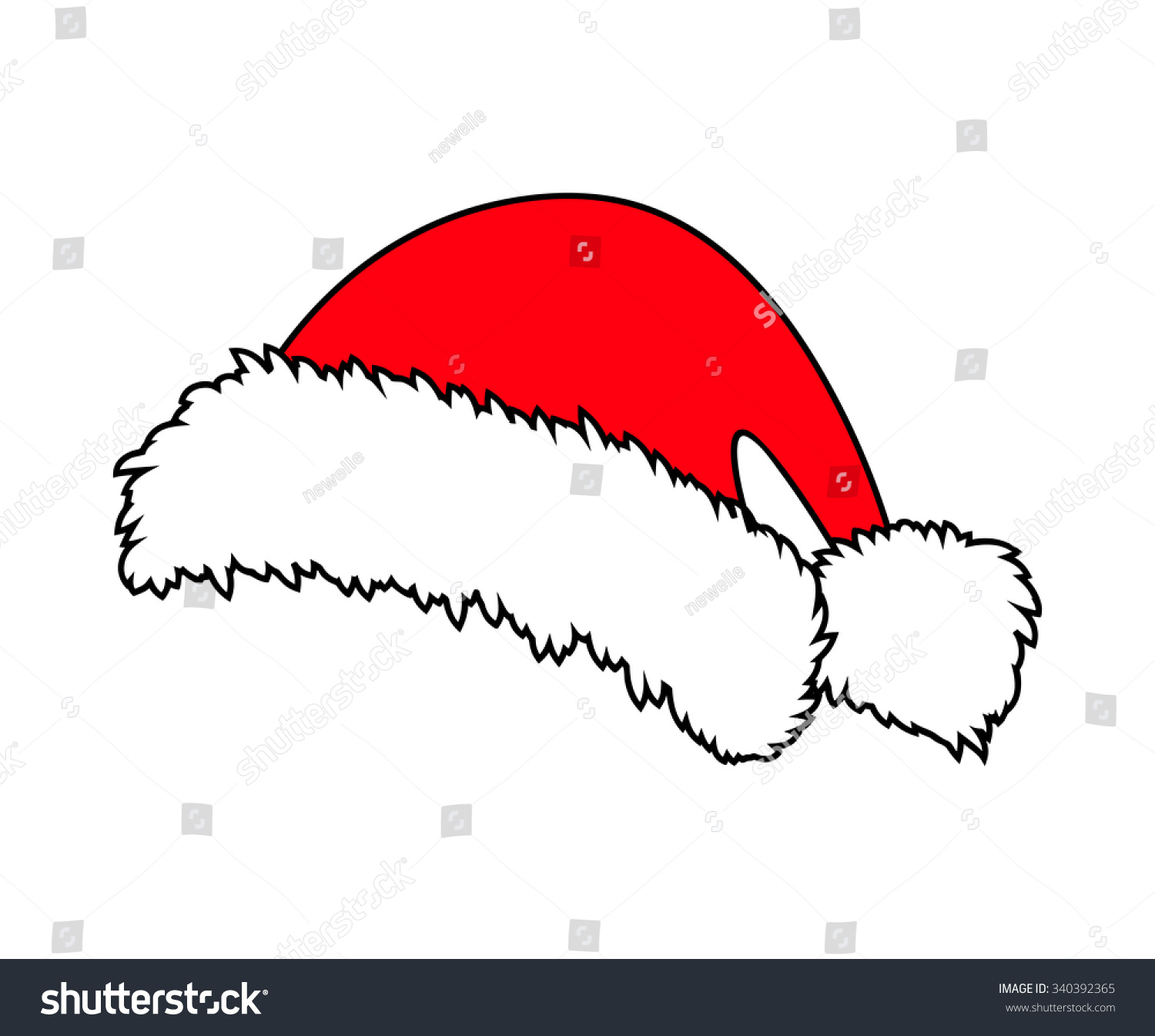 Santa hat vector black and white