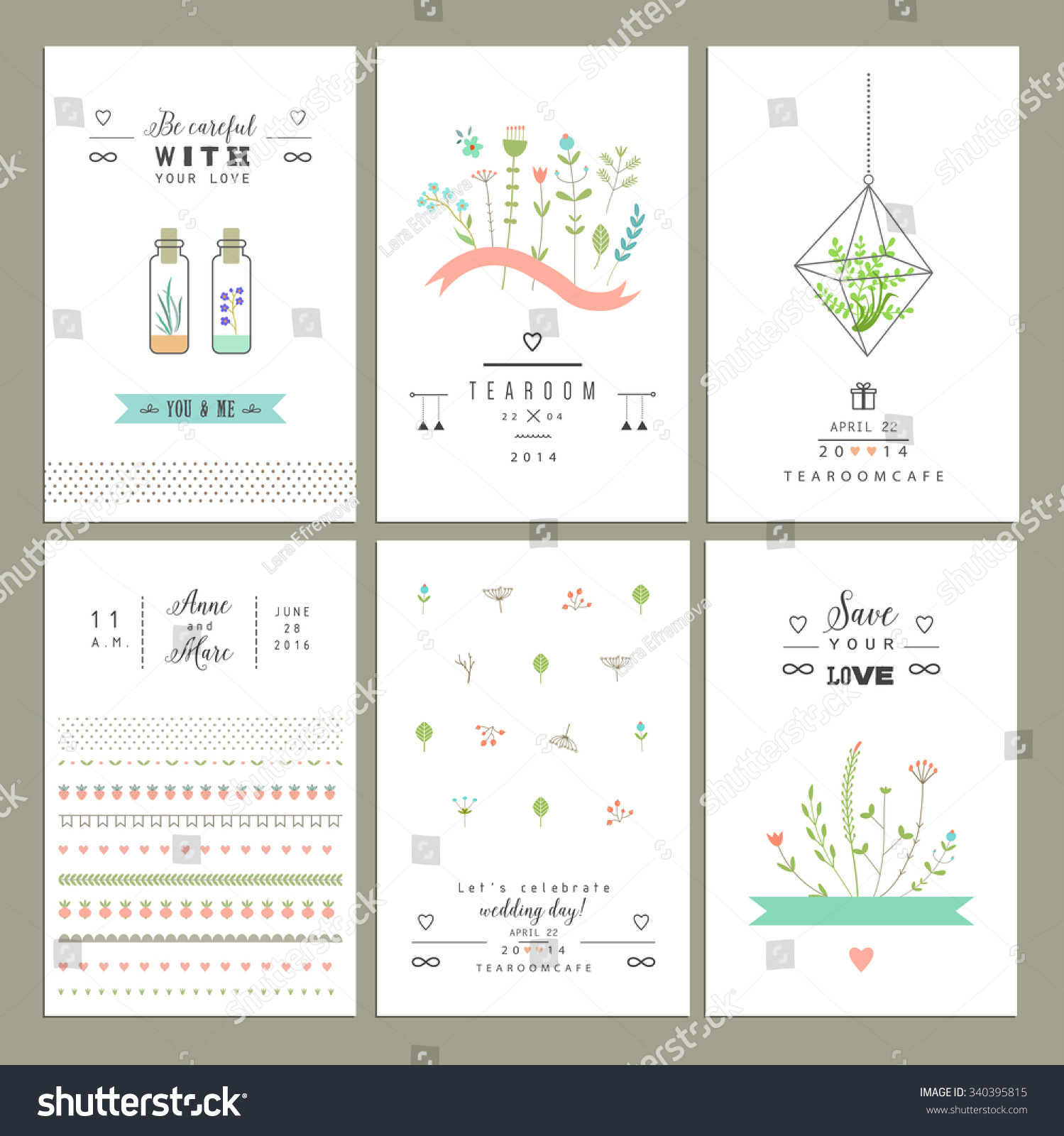 Hand Drawn Collection Romantic Trendy Invitations Stock Vector