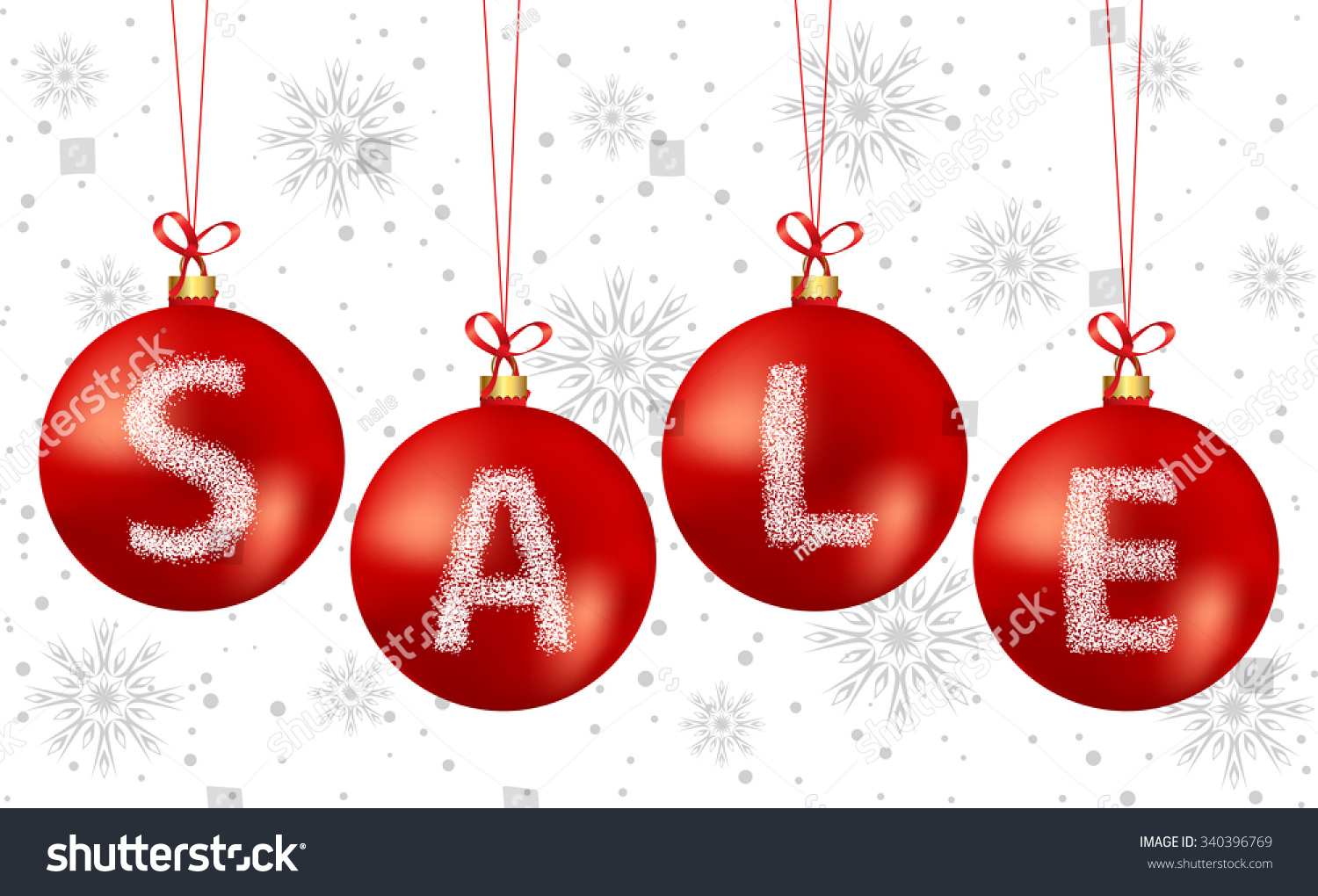 vector illustration of christmas bubbles sale text used gradient mesh on bubbles - Used Christmas Decorations For Sale