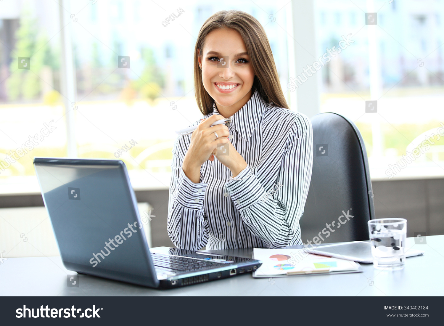 Portrait Of A Young Business Woman Using Laptop At Office Stock Photo