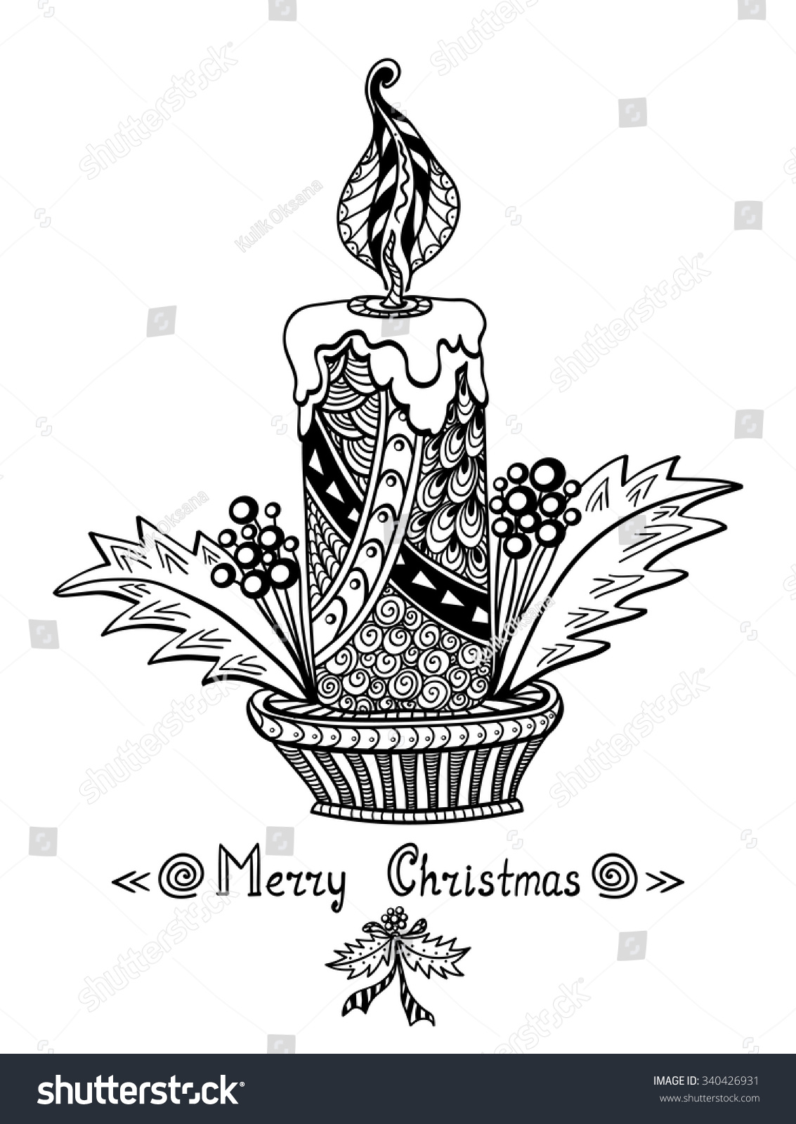 Christmas Candle In Zen Doodle Style Black On White Coloring Page For Book Or