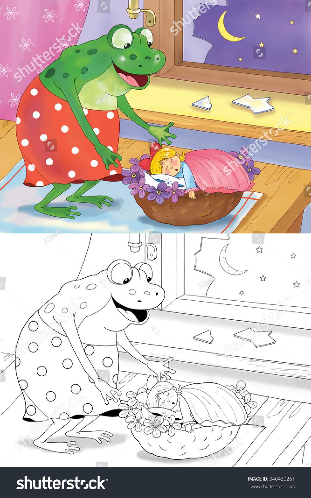 thumbelina fairy tale cute tiny stock illustration 340430261