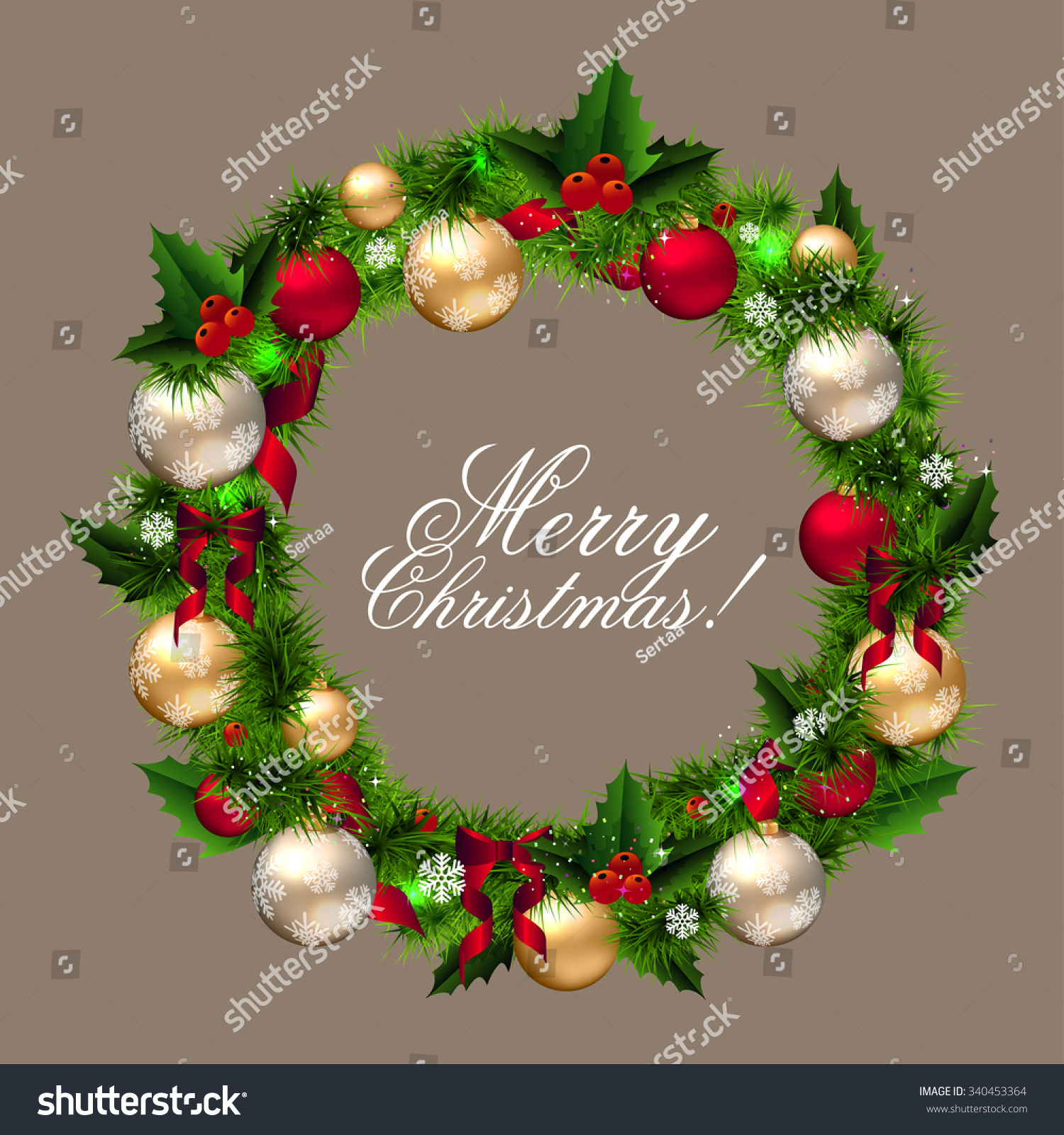 Wreath from old christmas cards - Merry Christmas Card Wreath With Fir Branches Colorful Balls Red Berry And Snowflake