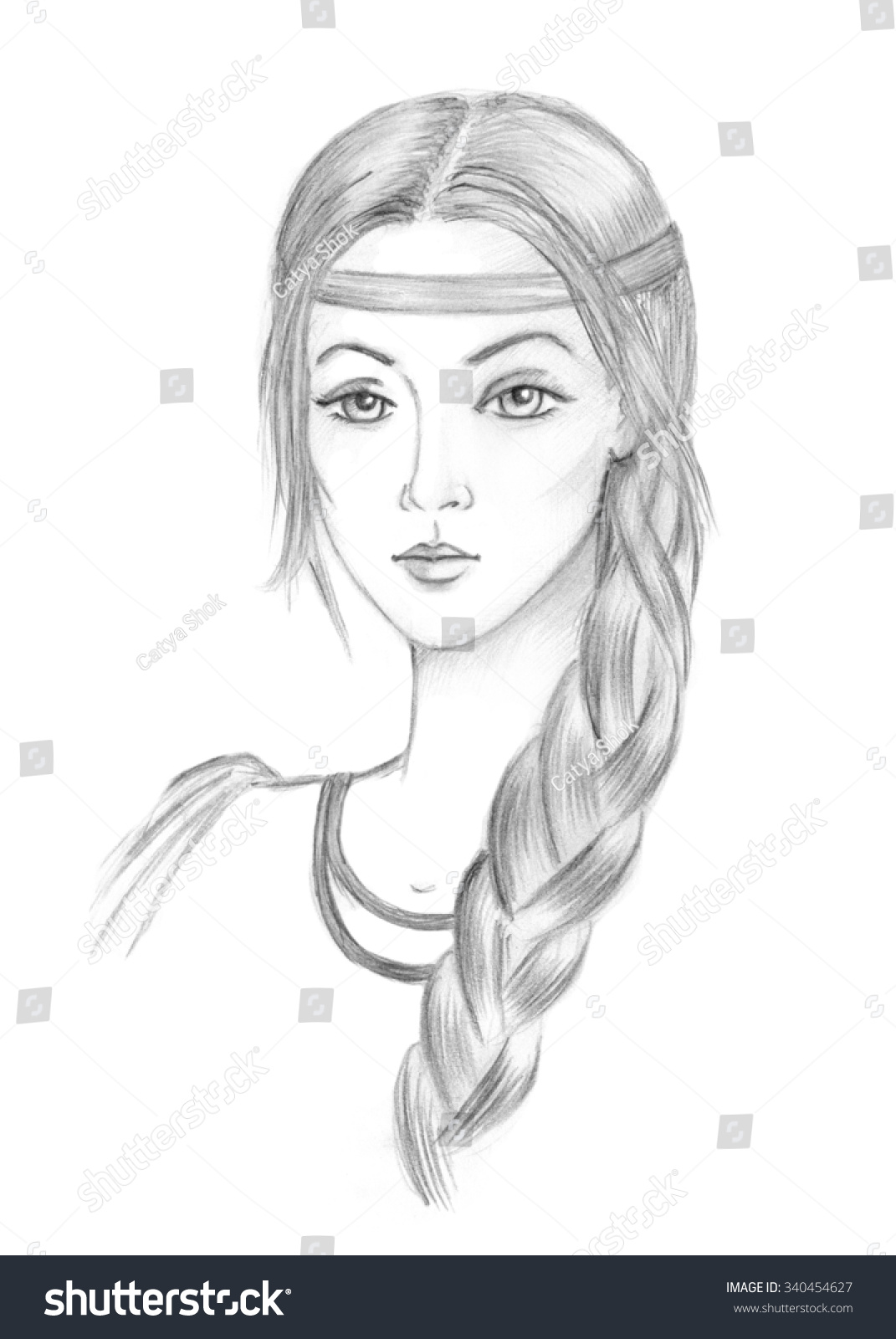 Beautiful slavic girl ukrainian russian belarus young girl pencil sketch