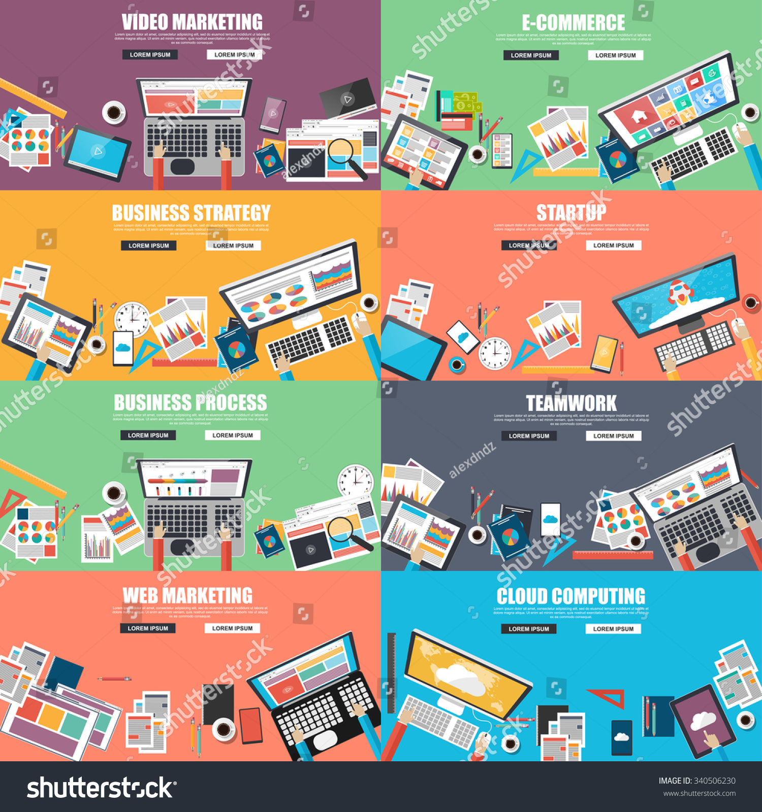 Collection Of Flat Design Concept For Business Strategy Video And Web Marketing E Commerce