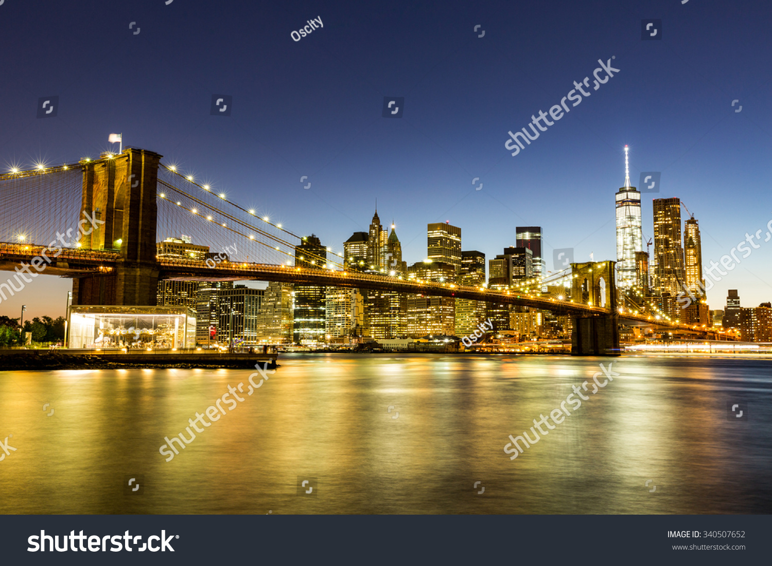 Night view of Brooklyn bridge and Skyscrapers in New York | EZ Canvas