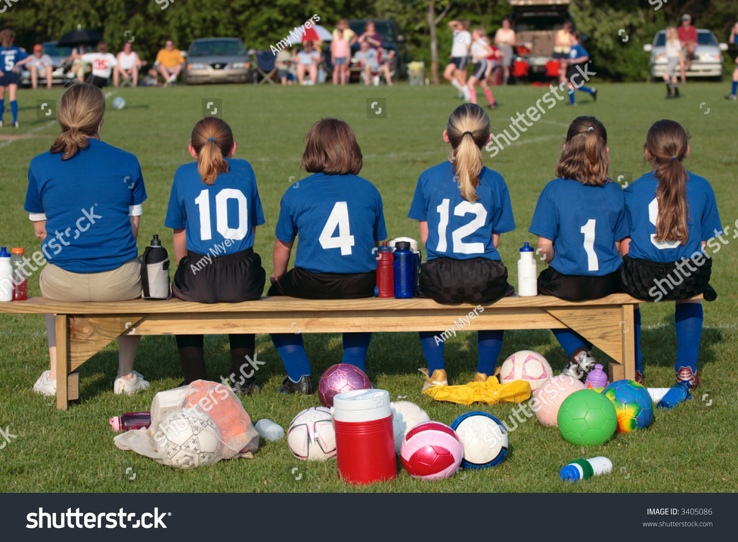 Soccer Team With Coach On Sidelines On Bench At Game Stock Photo 3405086 Shutterstock
