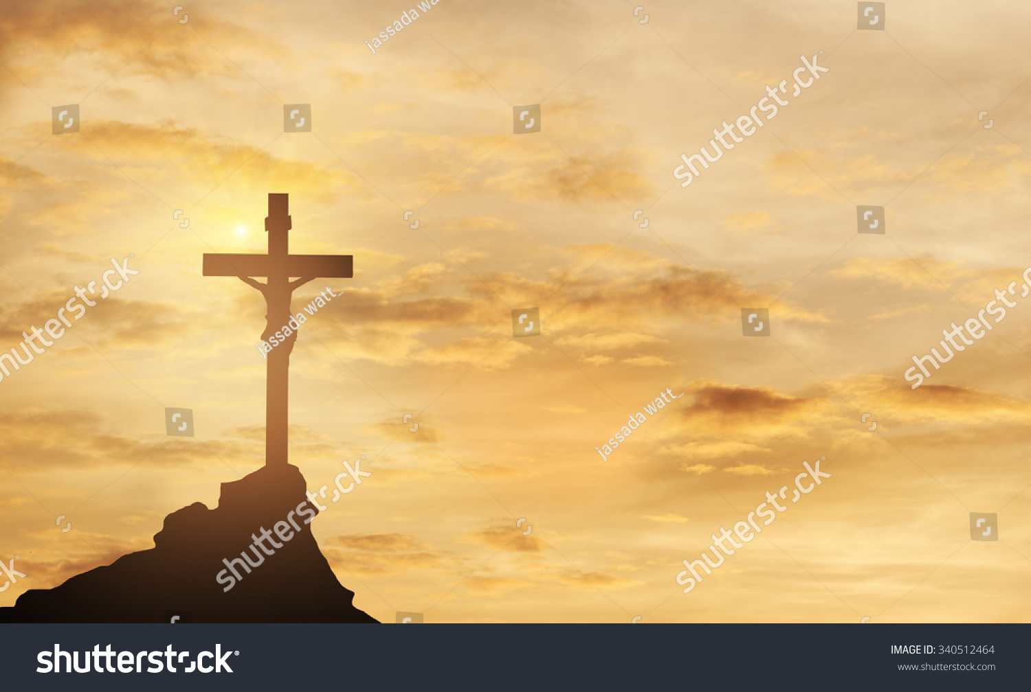 Silhouette of the holy cross on background of storm clouds stock - Silhouette Jesus And The Cross Over Sunset On Mountain Top