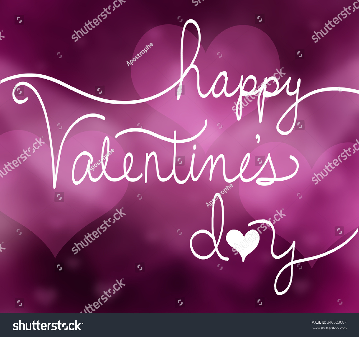Happy Valentines Day Background Pink Hearts Stock Illustration