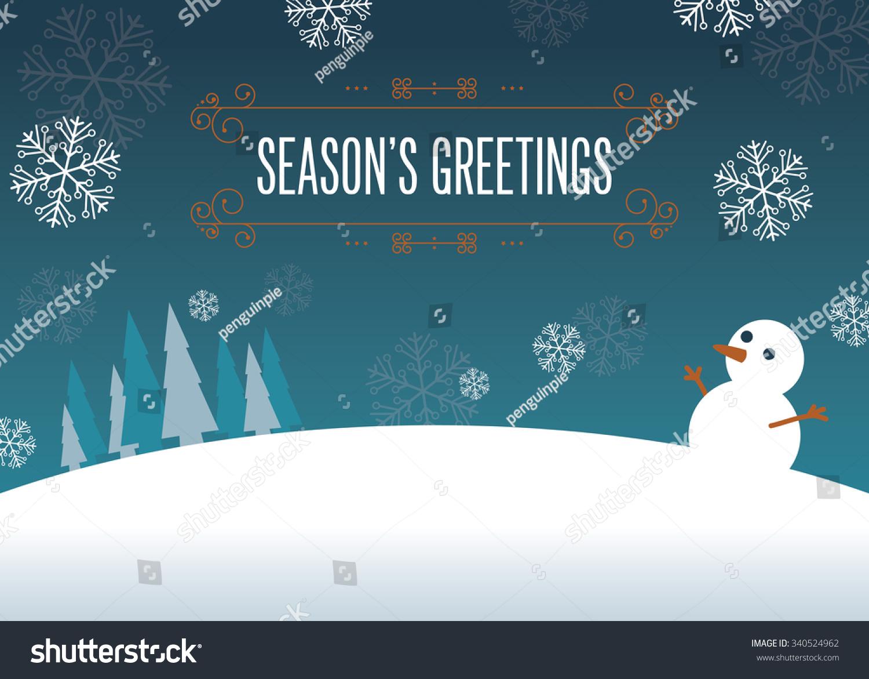 Winter Scenery Illustration Seasons Greetings Message Stock Vector