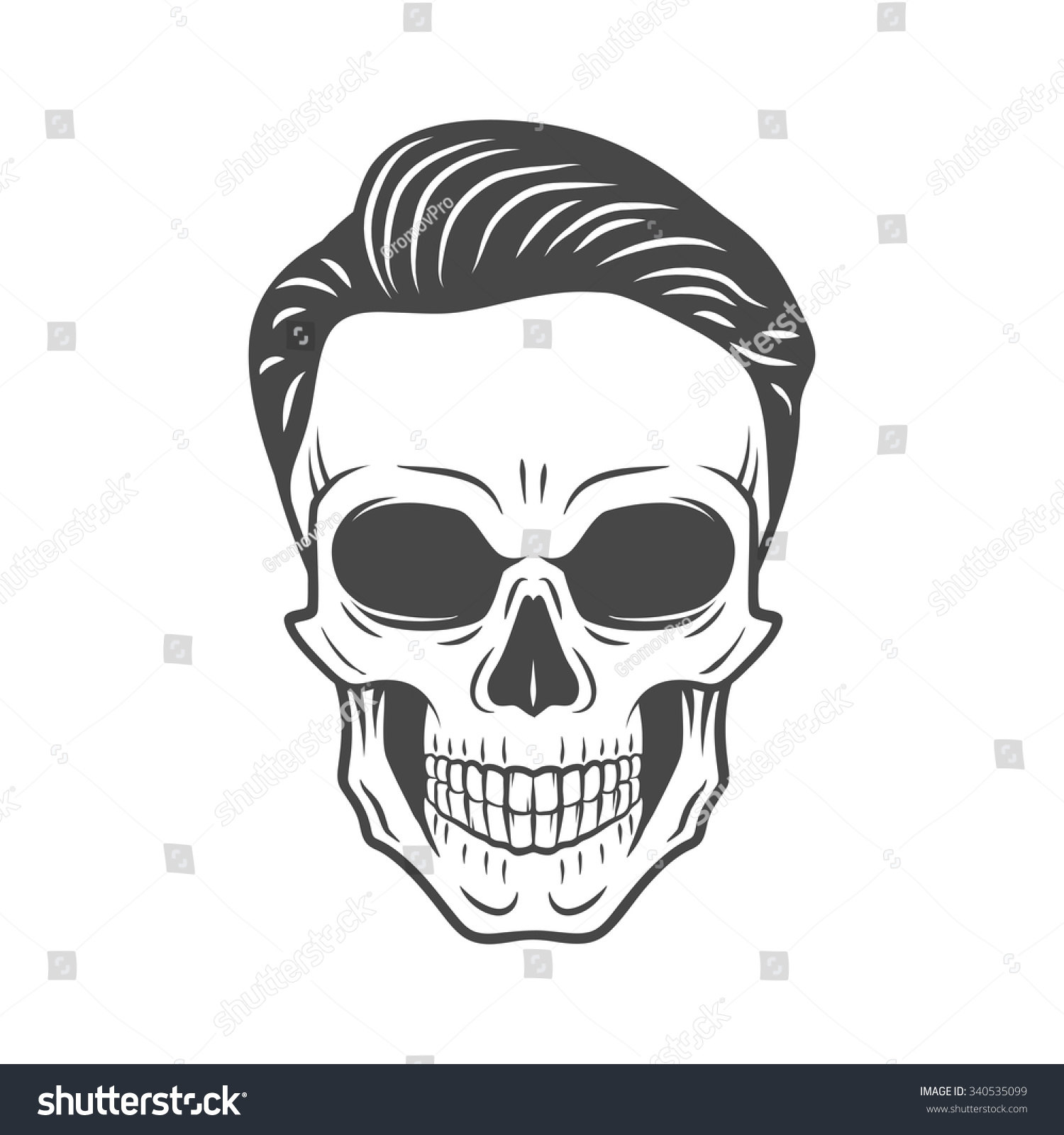 Young Stylish Skull With Hipster Hair Glamour Rock Skeleton Logo