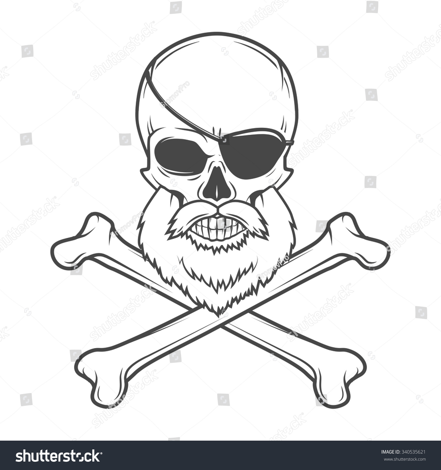 pirate skull beard eye patch crossed stock vector 340535621