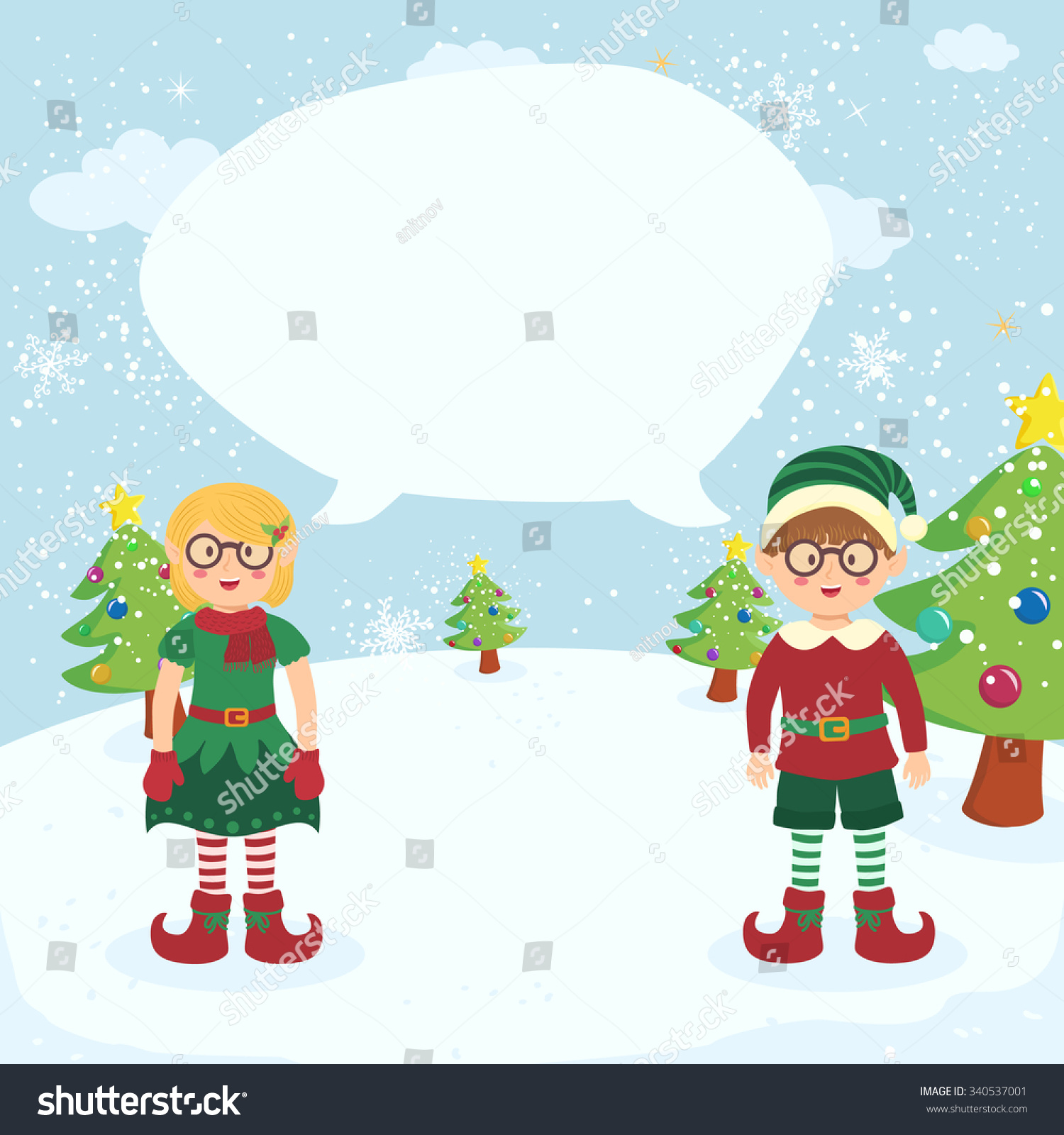 Bubble Speech Christmas Elves Glasses Couple Stock Vector (Royalty ...