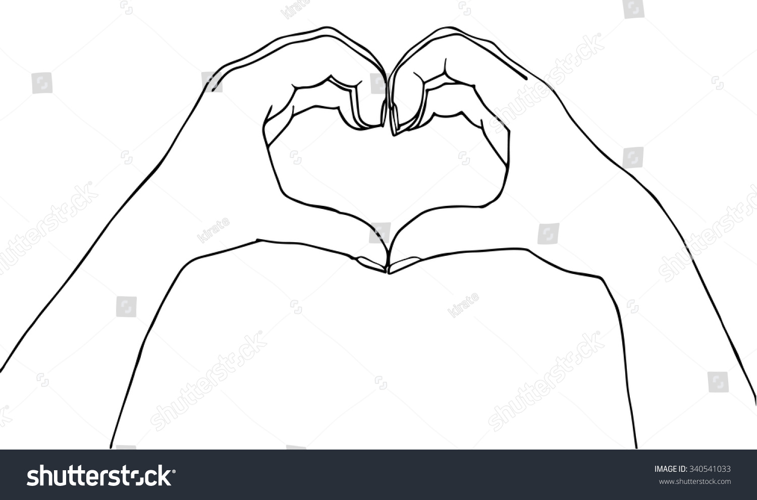 Uncategorized Heart Hands Drawing heart hands making shape stock vector 340541033 a illustration outline isolated on white background