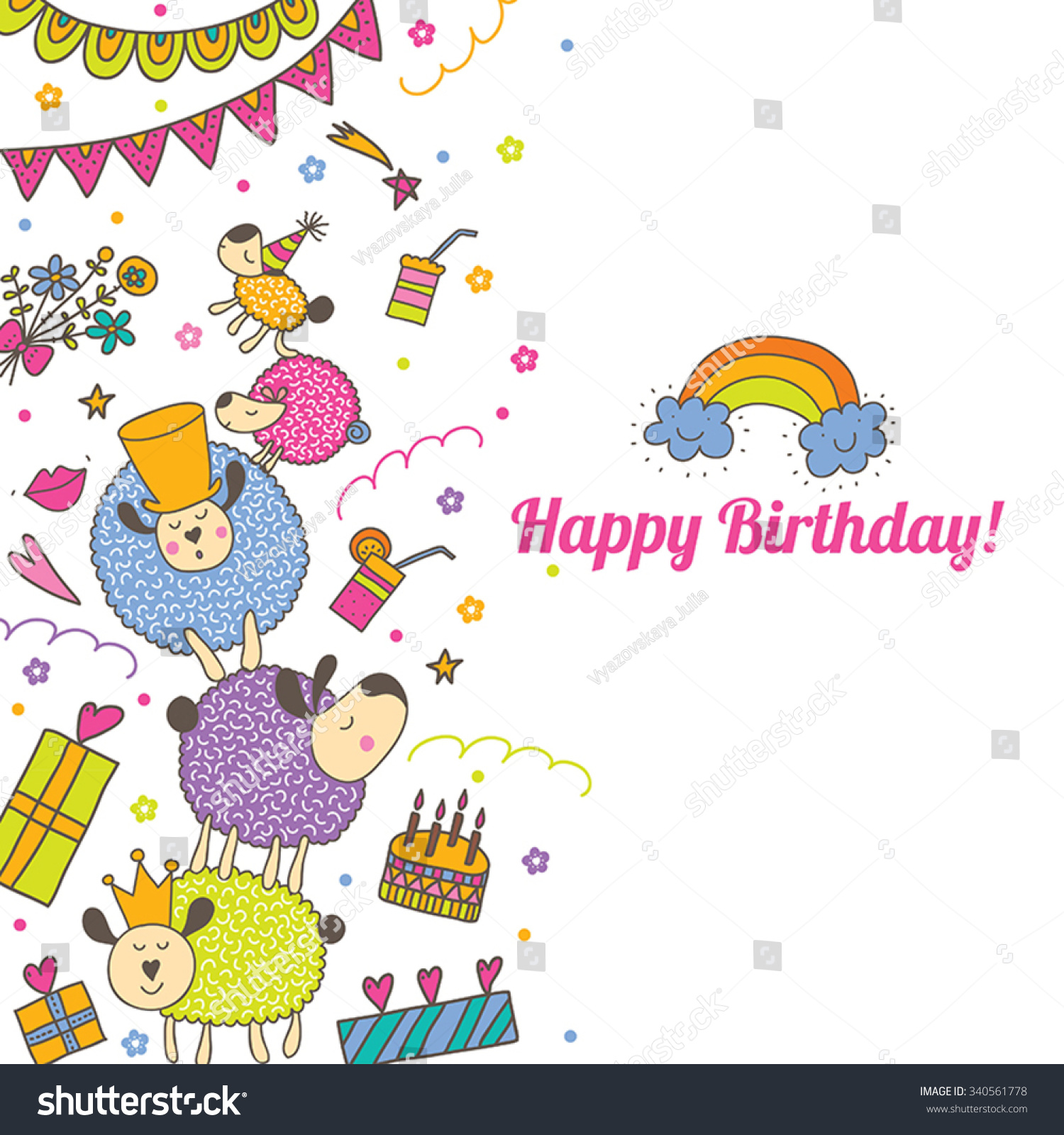 Happy birthday postcard sheep vector postcard stock vector happy birthday postcard with sheep vector postcard bookmarktalkfo Image collections