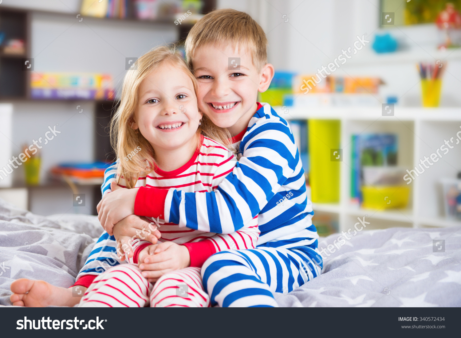 Cute Little Brother Sister Pajamas Home Stock Photo -8860