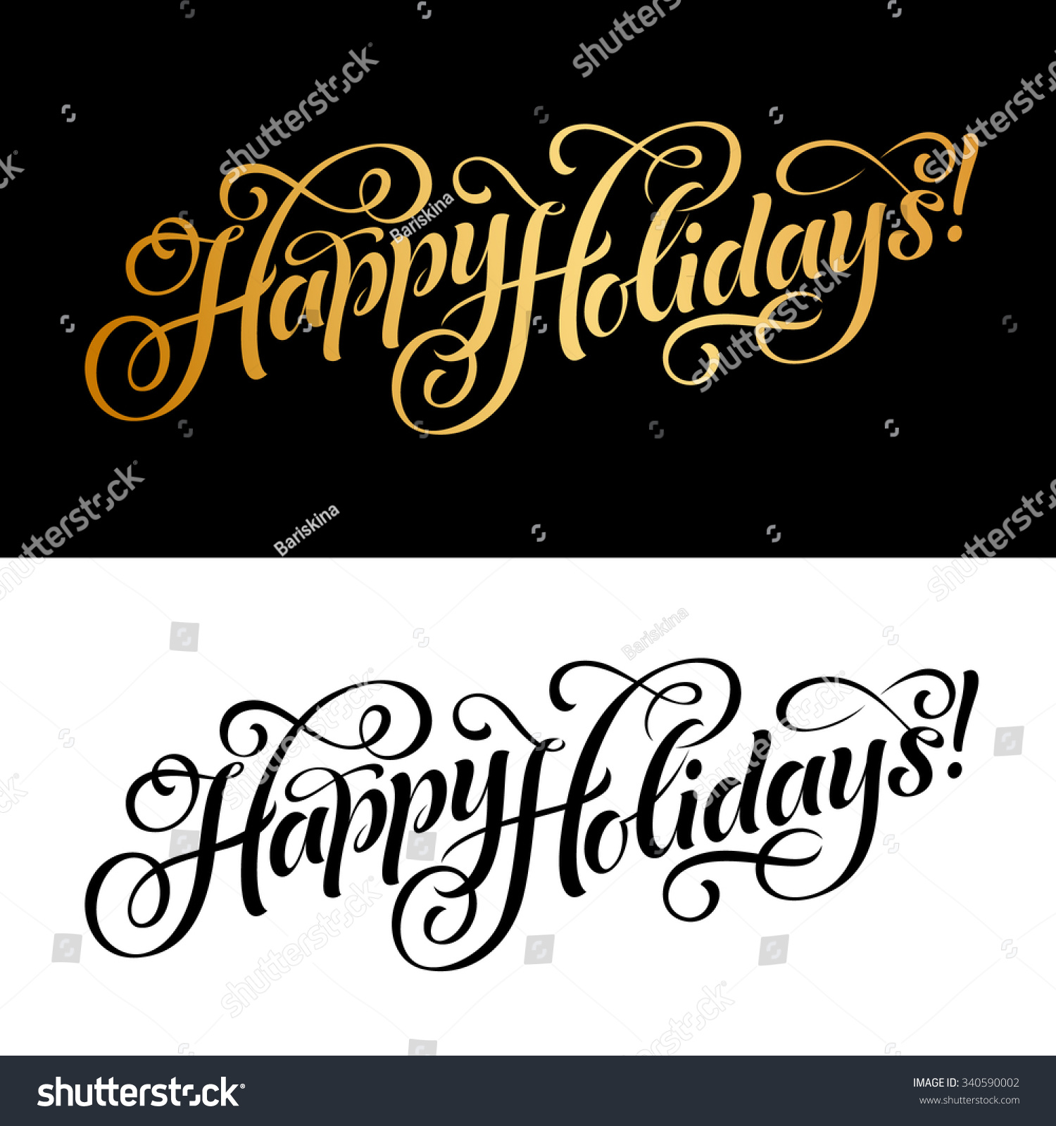 Vector illustration of paper cards with Happy Holidays lettering and ornamental elements Christmas calligraphy