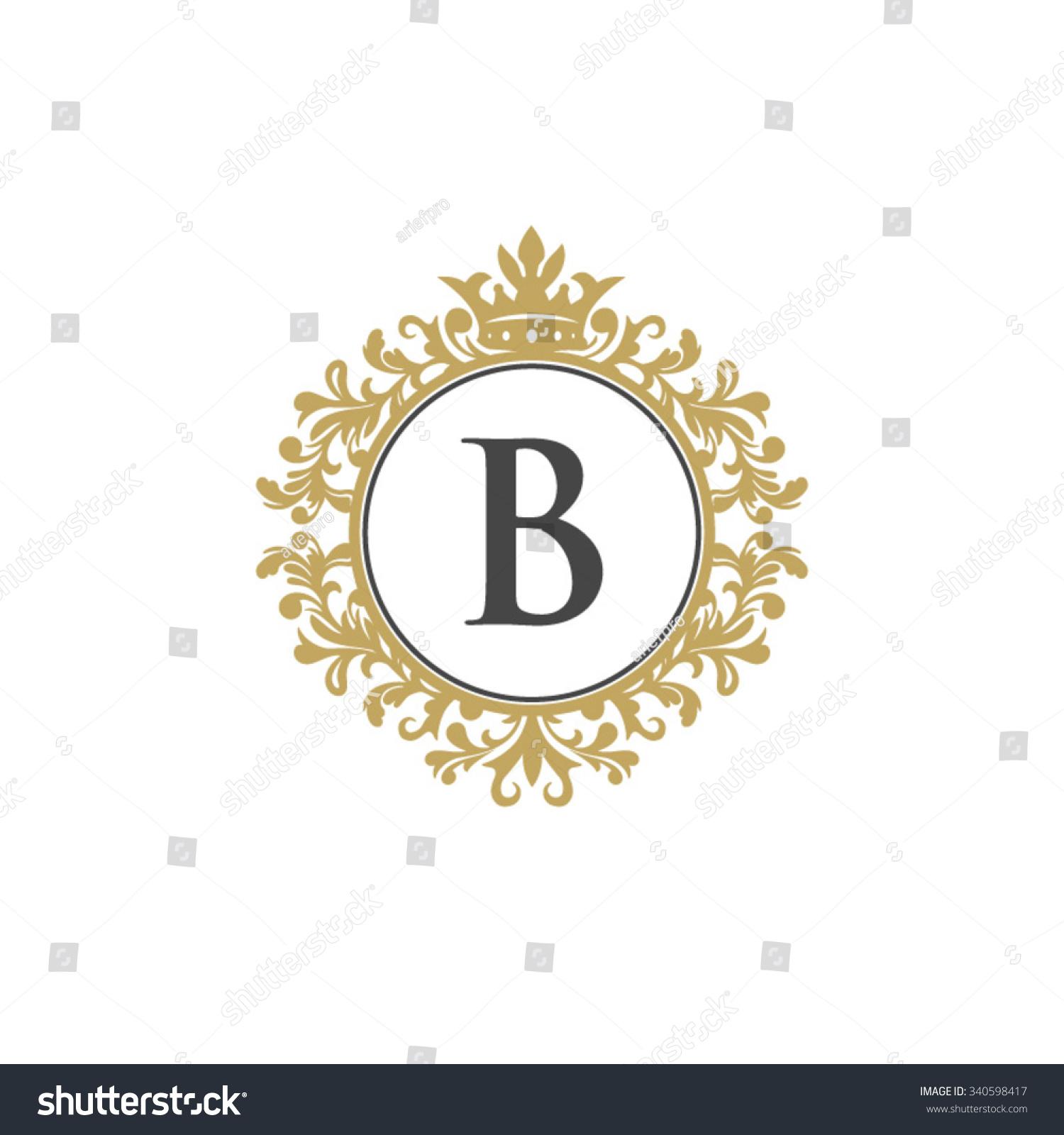 Tj initial luxury ornament monogram logo stock vector - B Initial Logo Luxury Ornament Crown Logo