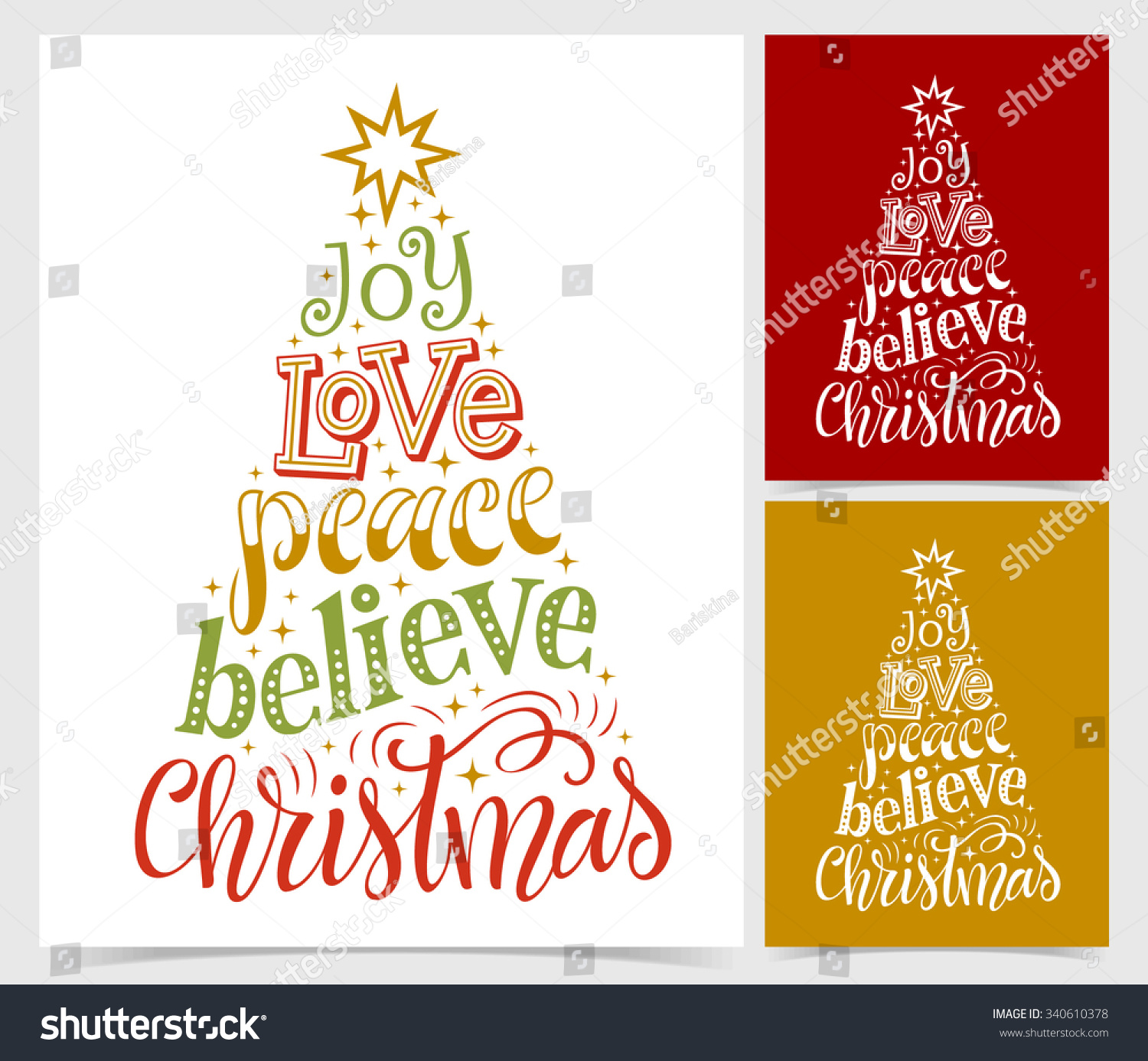 Vector Illustration Paper Cards Holidays Lettering Stock Vector ...