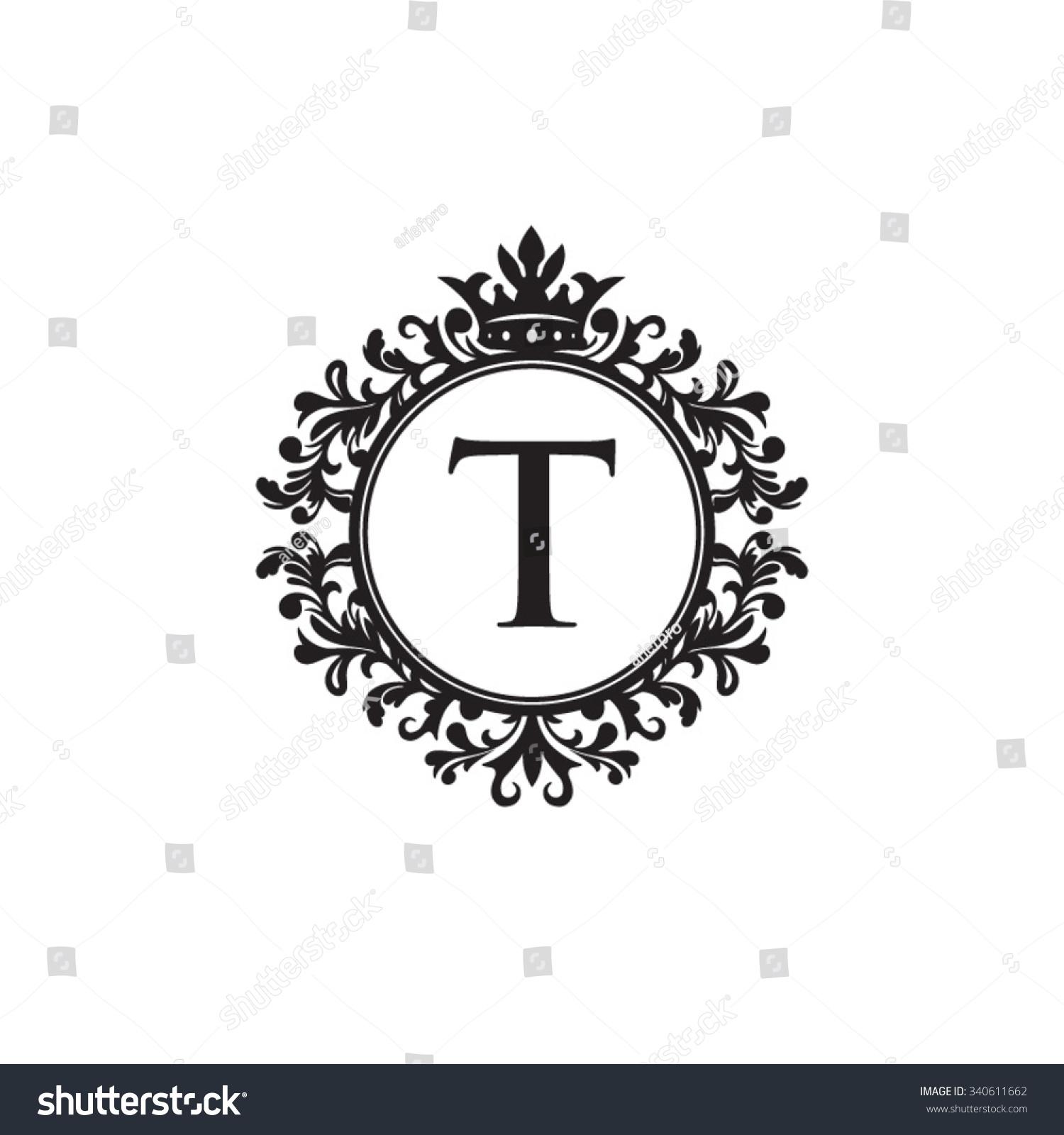 Tj initial luxury ornament monogram logo stock vector - T Initial Logo Luxury Ornament Crown Logo