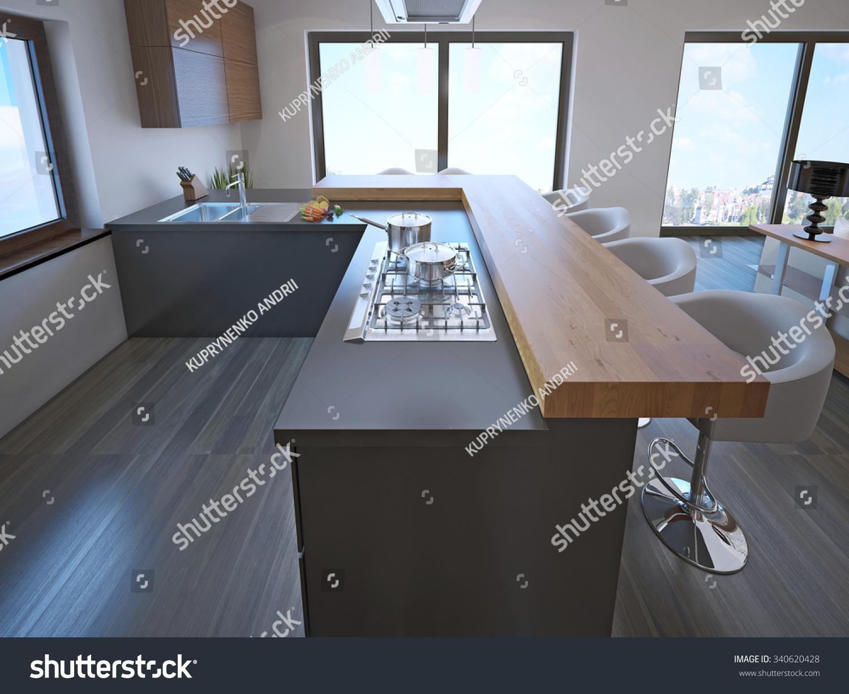 Avantgarde Kitchen Island Bar Lightwood Countertop Stock Illustration 340620428