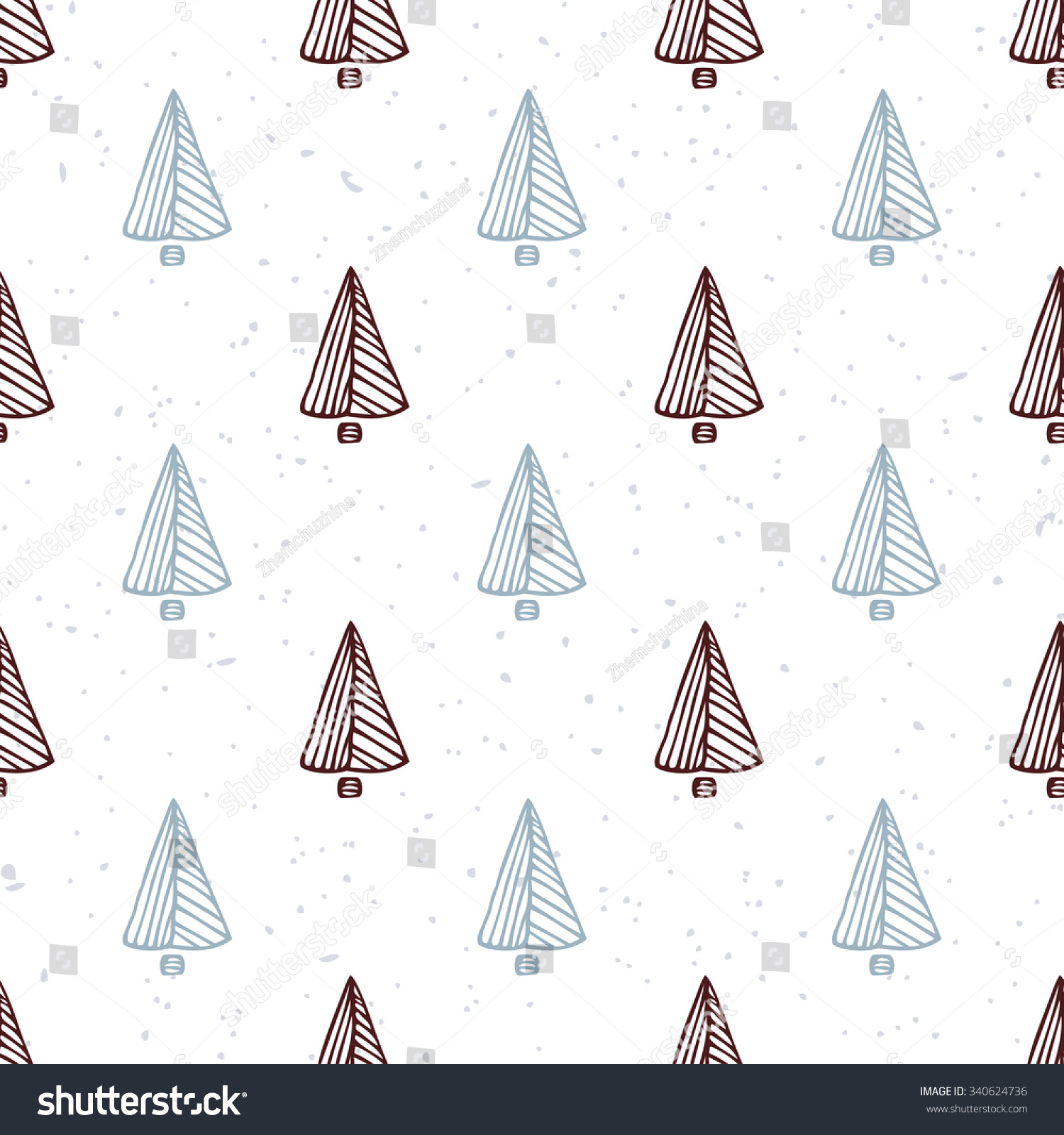 Seamless Pattern With Hand Drawn Christmas Tree Doodle Holiday Background Hipster Style Vector