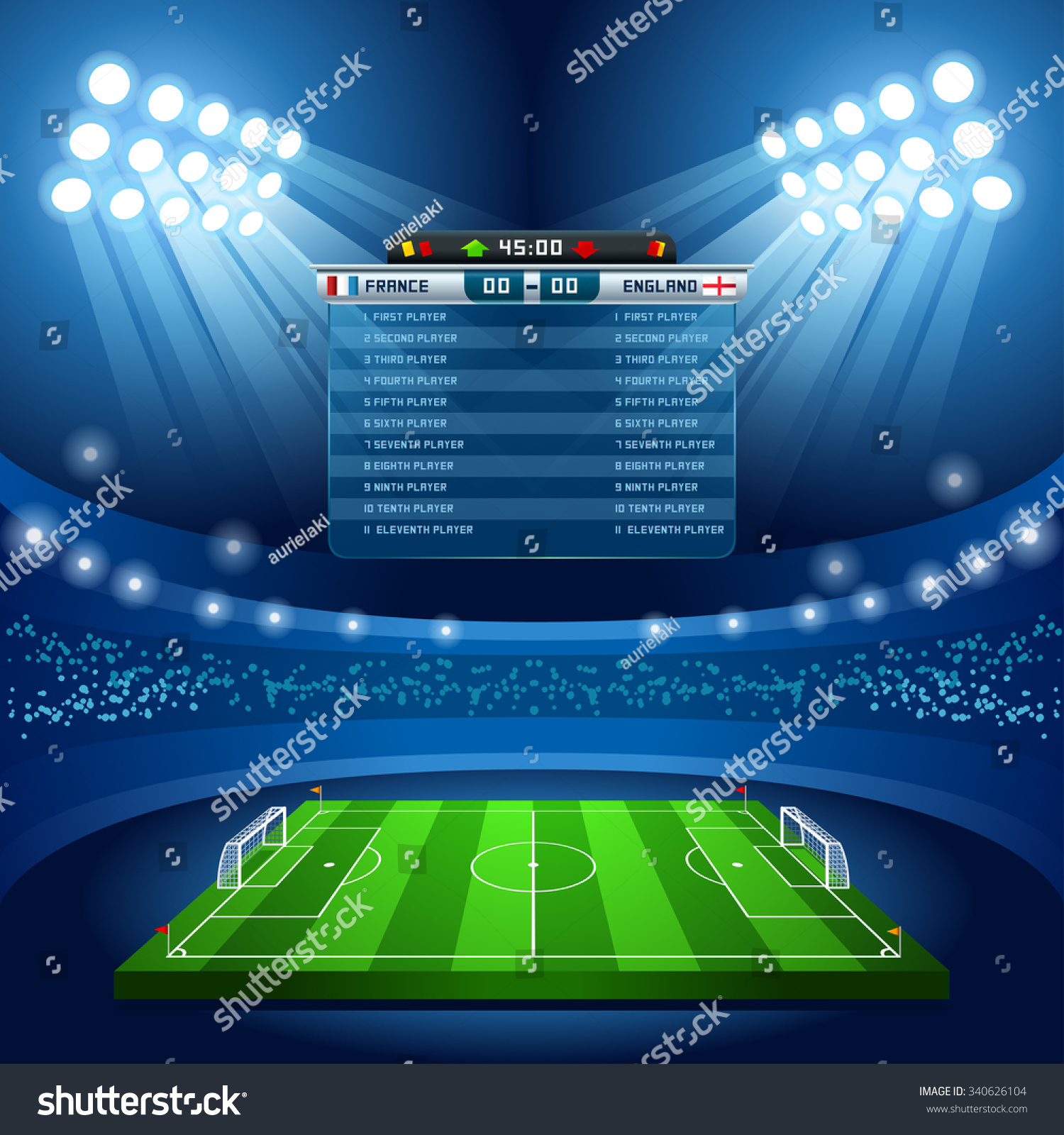 Soccer Stadium Score Board Empty Field Stock Illustration