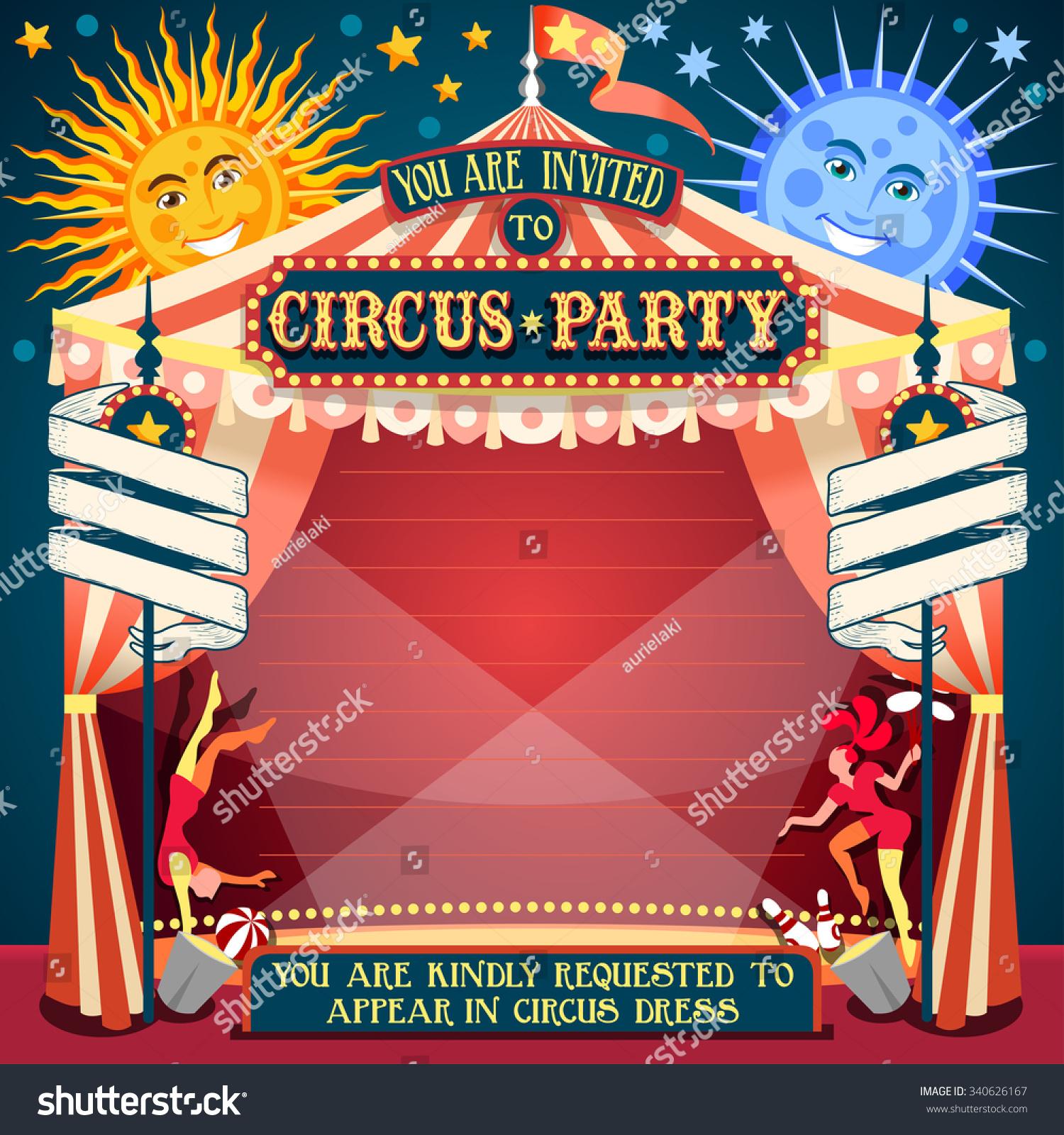 Circus Acrobatic Show Retro Template Cartoon Stock Illustration ...