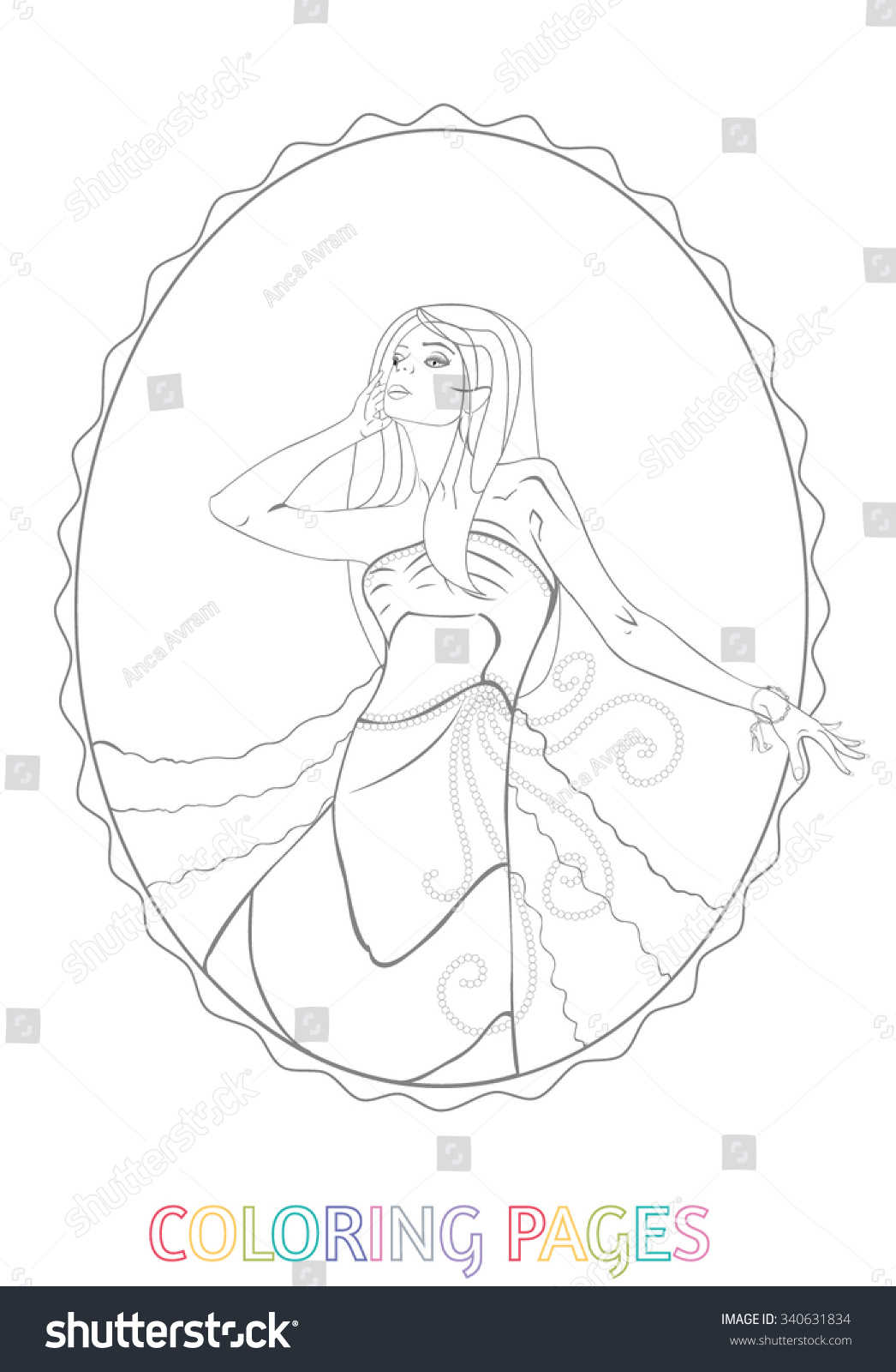 Adult Kids Coloring Pages Blond Woman Oval Stock Vector (2018 ...