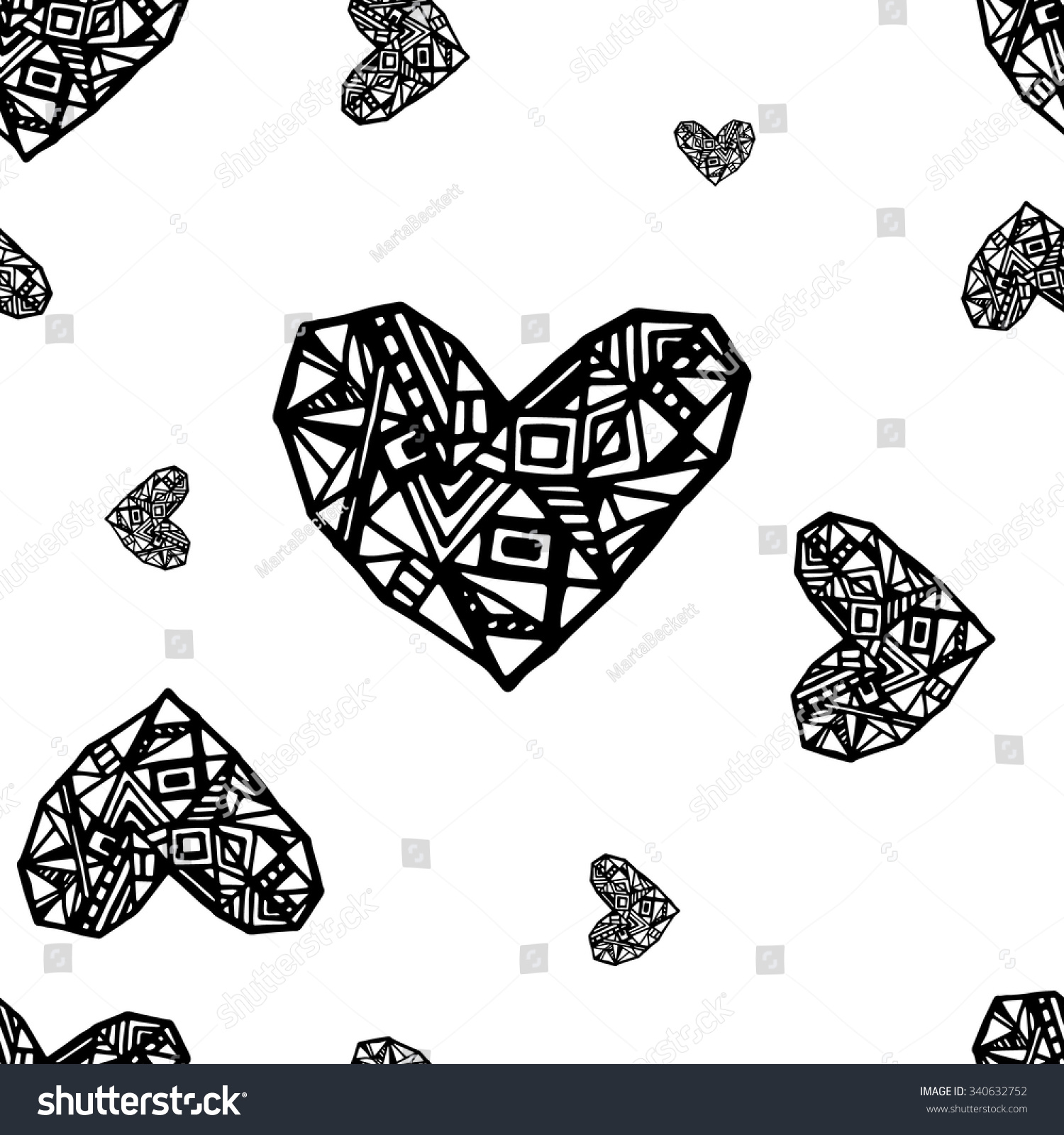 Romantic vector seamless background greeting card wallpaper vector art - Abstract Vector Black Heart On White Seamless Background Best Simple Pattern For Cards Fabric