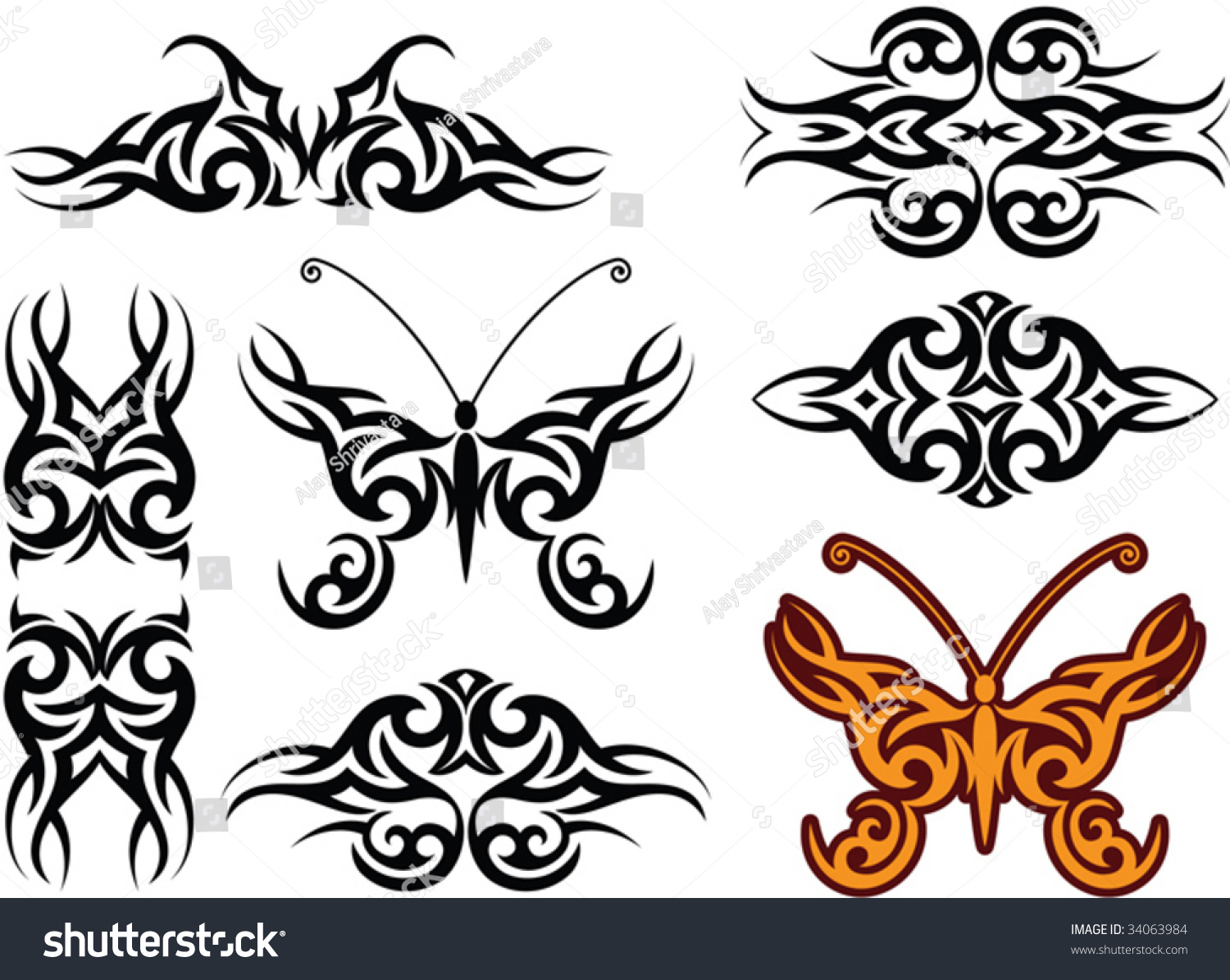 vector tribal tattoo armband butterfly 34063984 shutterstock. Black Bedroom Furniture Sets. Home Design Ideas