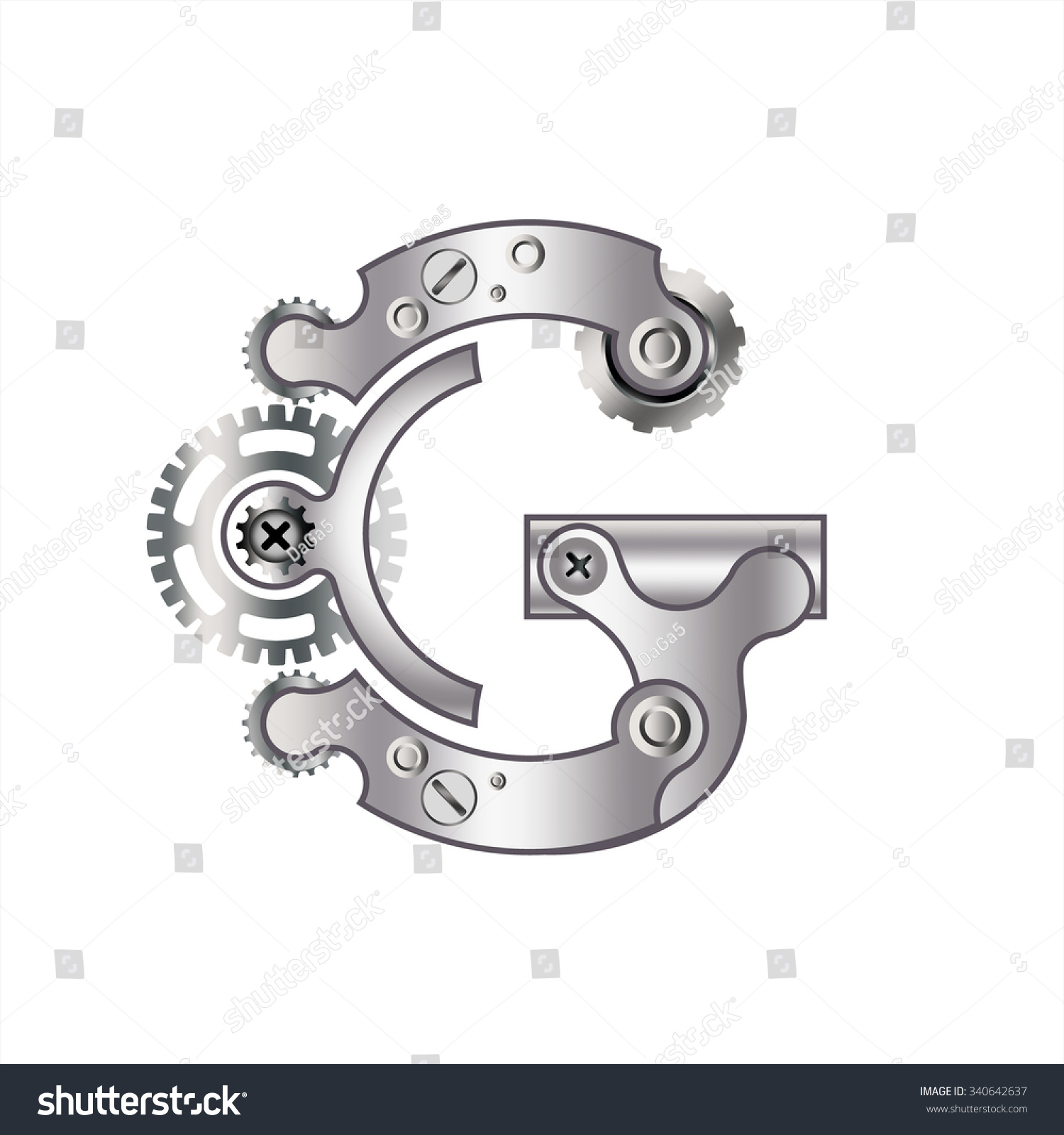 Letter G Gears Spare Parts Bolts Stock Vector   Shutterstock