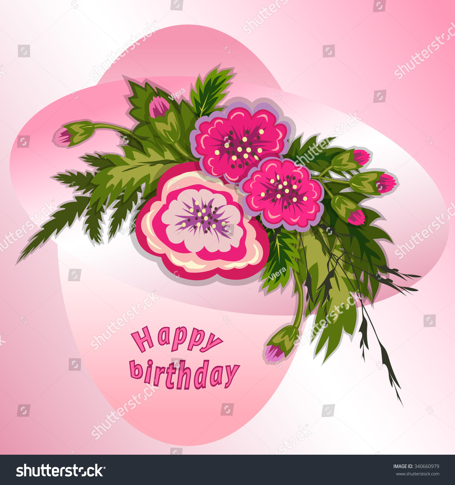 Floral composition bouquet pink flowers on stock vector royalty bouquet of pink flowers on soft rose background happy birthday pattern for izmirmasajfo