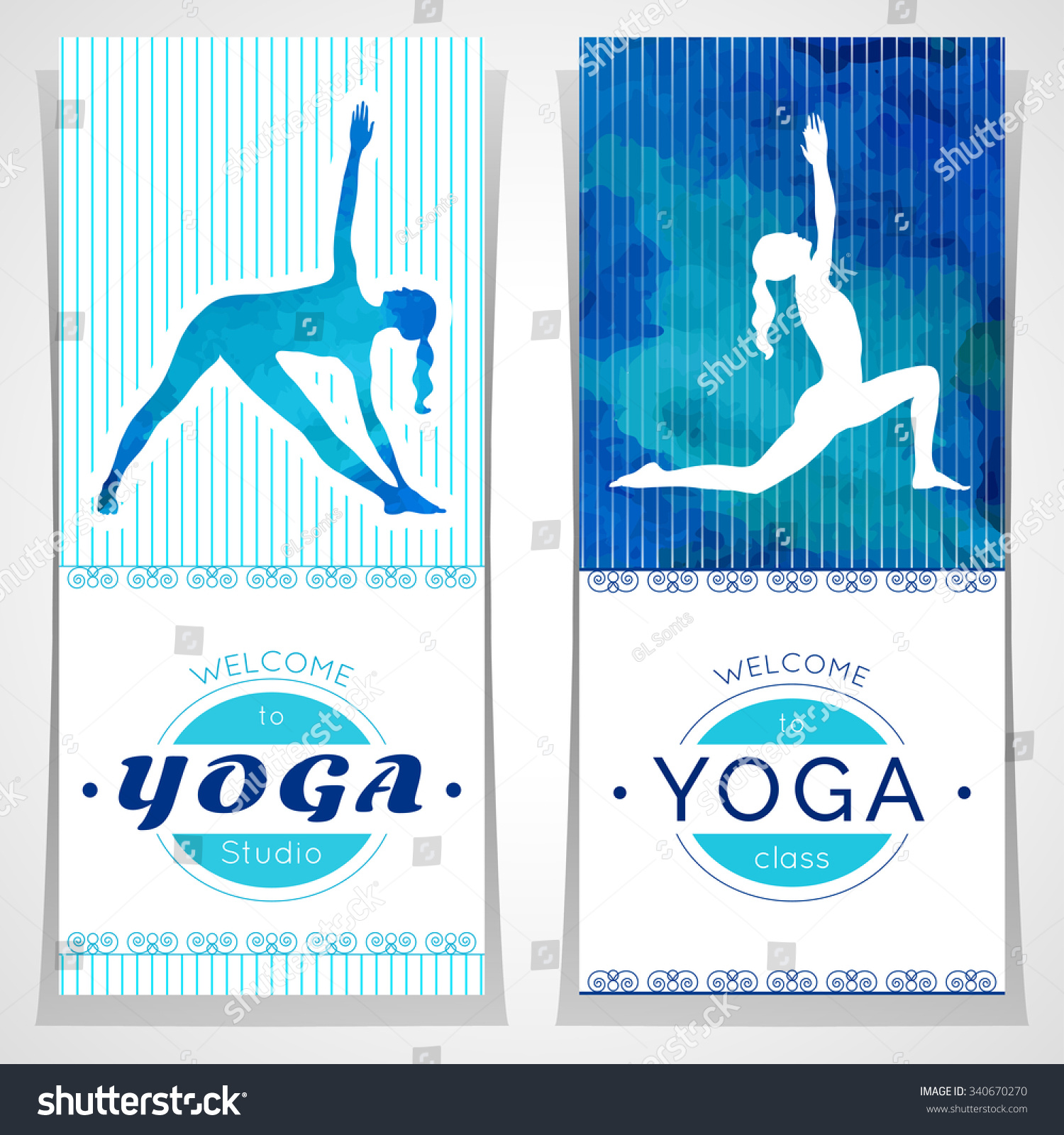 Vector Yoga Illustration Posters With Watercolor Texture And Yogi Silhouette Identity Design For