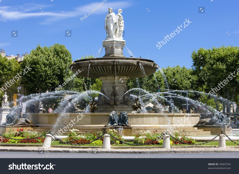Fountain La Rotonde Aixenprovence Provence France Stock