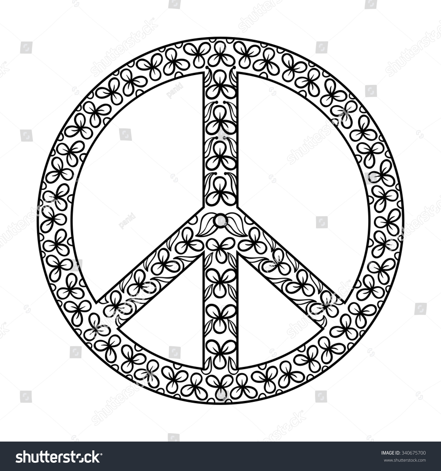 zentangle black peace symbol tattoo design stock vector 340675700
