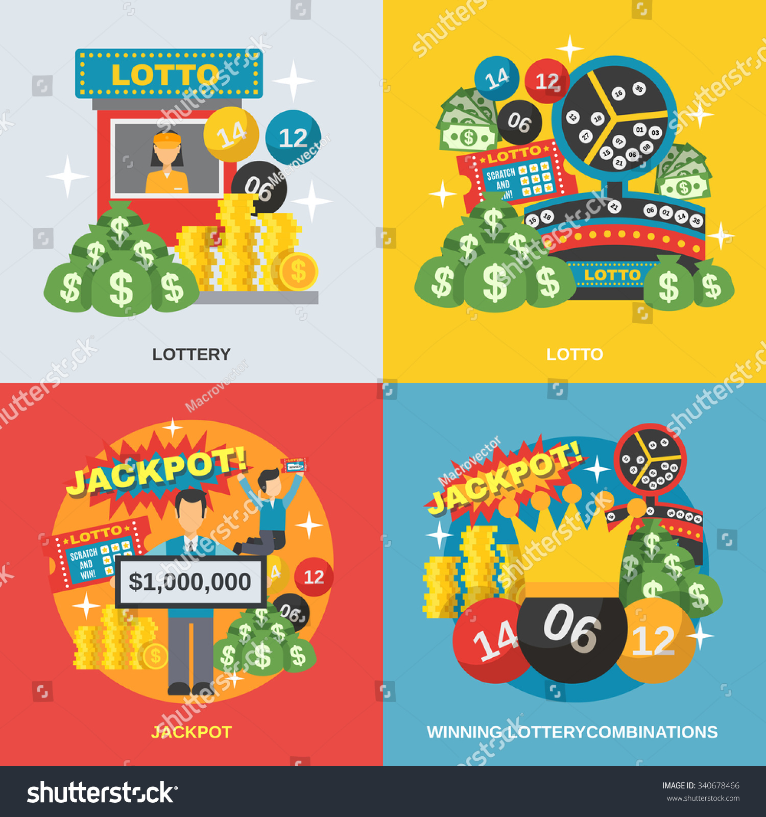 lottery design concept set winning combinations stock vector lottery design concept set winning combinations flat icons isolated vector illustration
