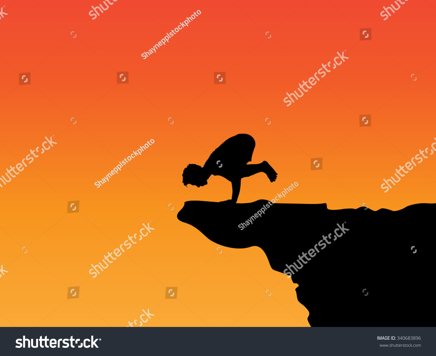 Crow Pose On Cliff Edge, Silhouette While Sunset (Orange ...