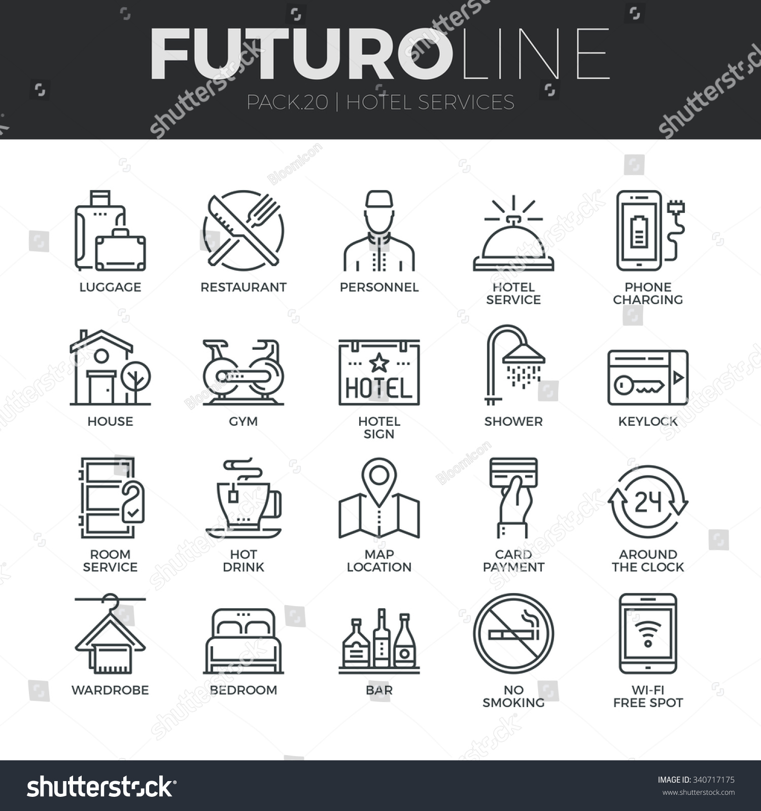 modern thin line icons set hotel stock vector 340717175 shutterstock