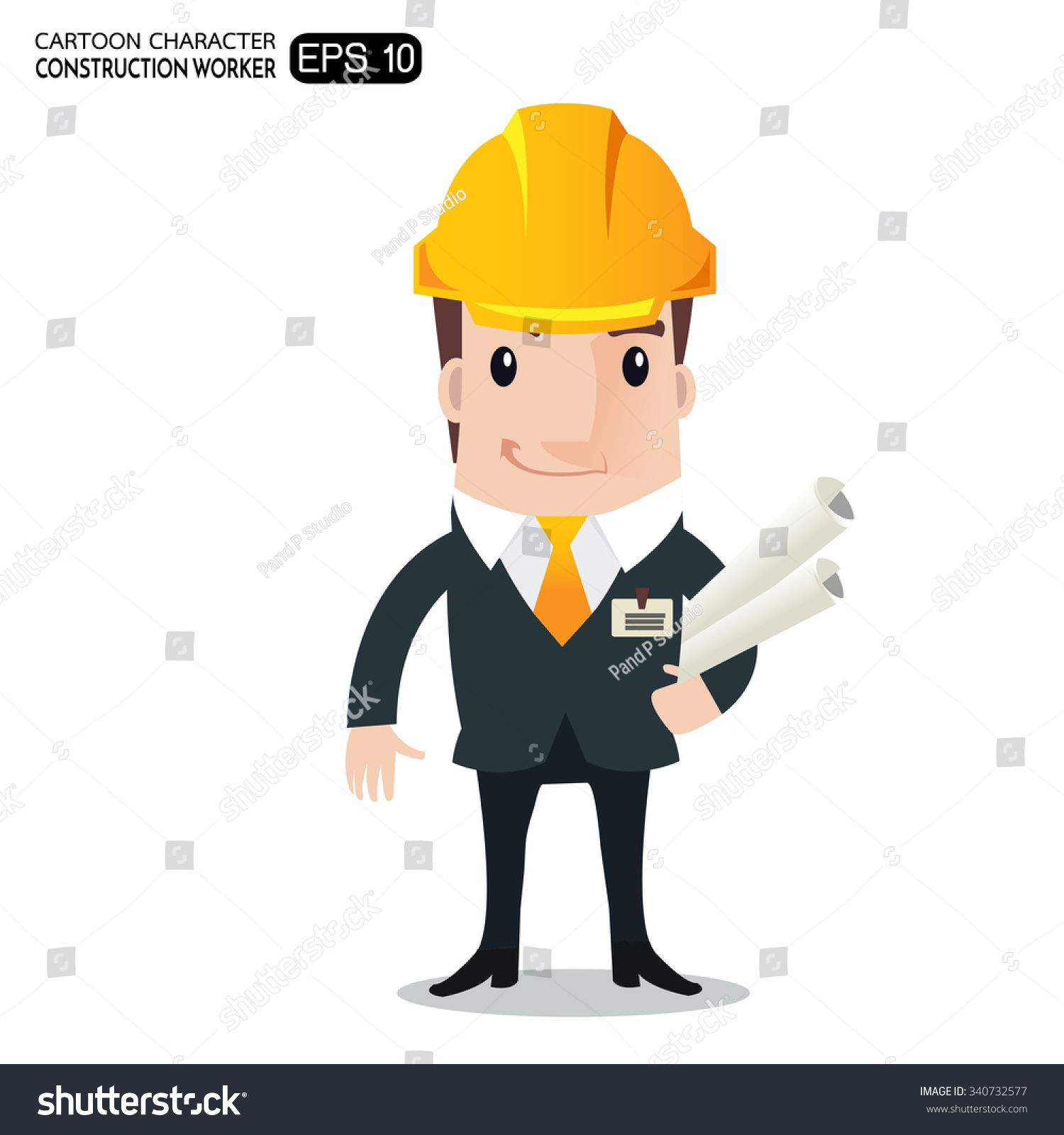 Construction Manager Cartoon : Construction worker engineer architect holding projects