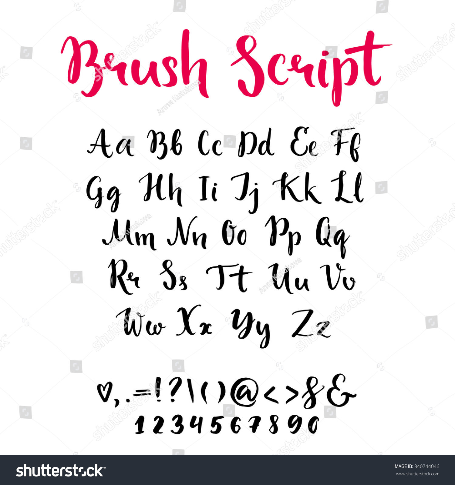 Brush Script Lowercase Uppercase Letters Keystrokes Stock