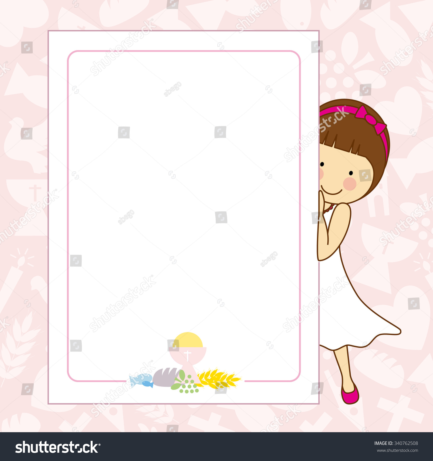 Uncategorized Girlspace my first communion girl space text stock vector 340762508 for or photo