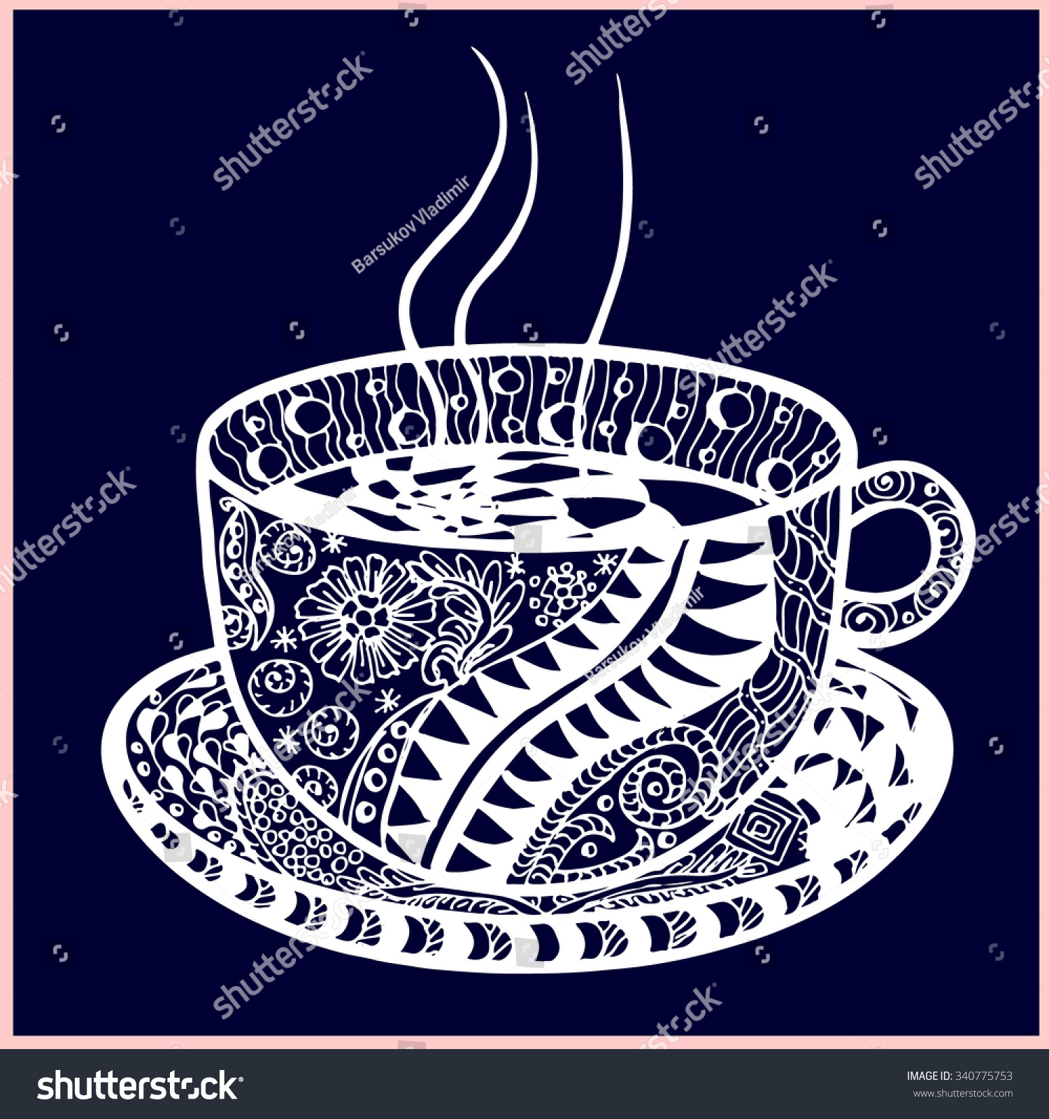 Hand Drawn Zentangle Pattern Cup On Stock Illustration 340775753
